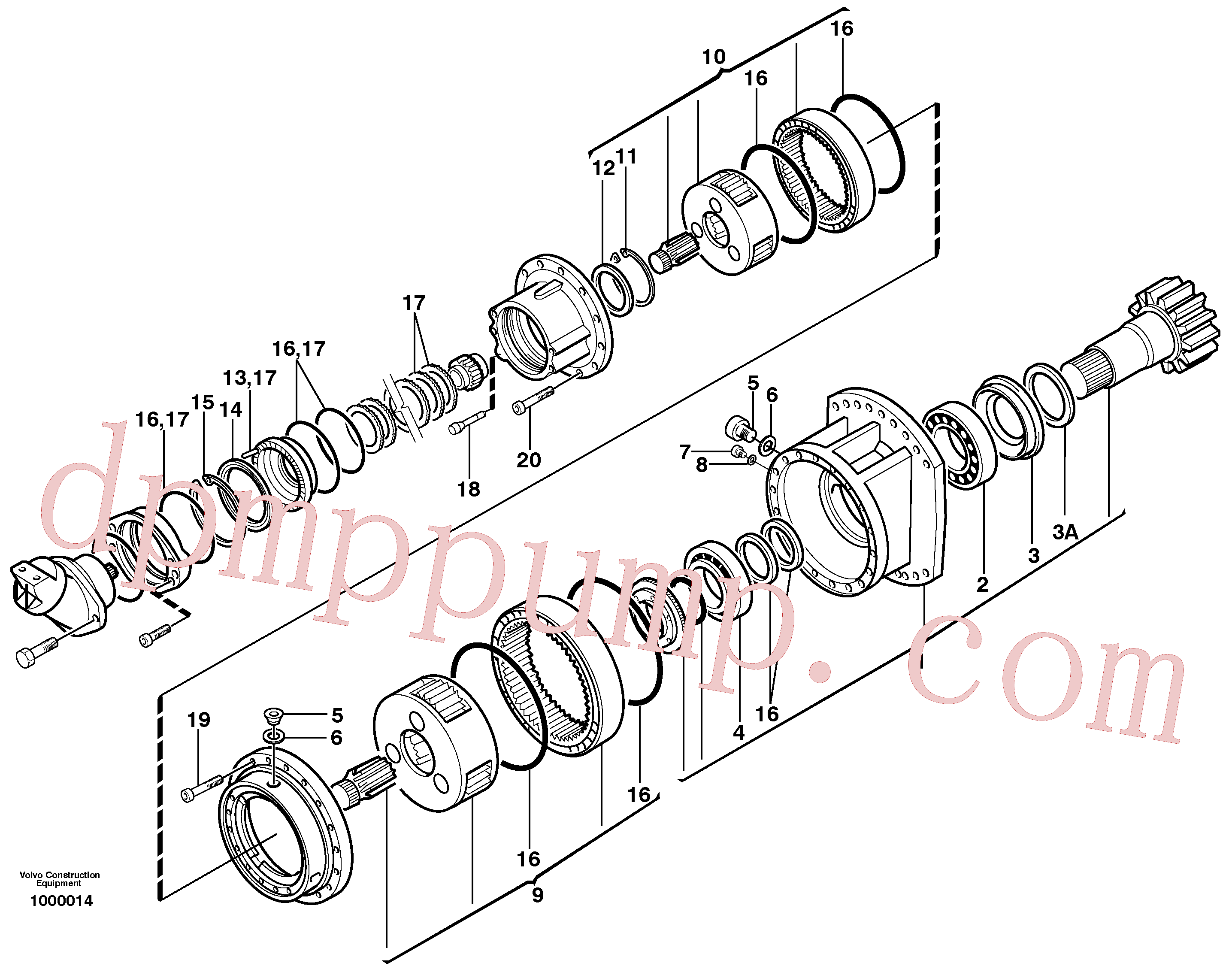 VOE11707952 for Volvo Swing gearbox(1000014 assembly)