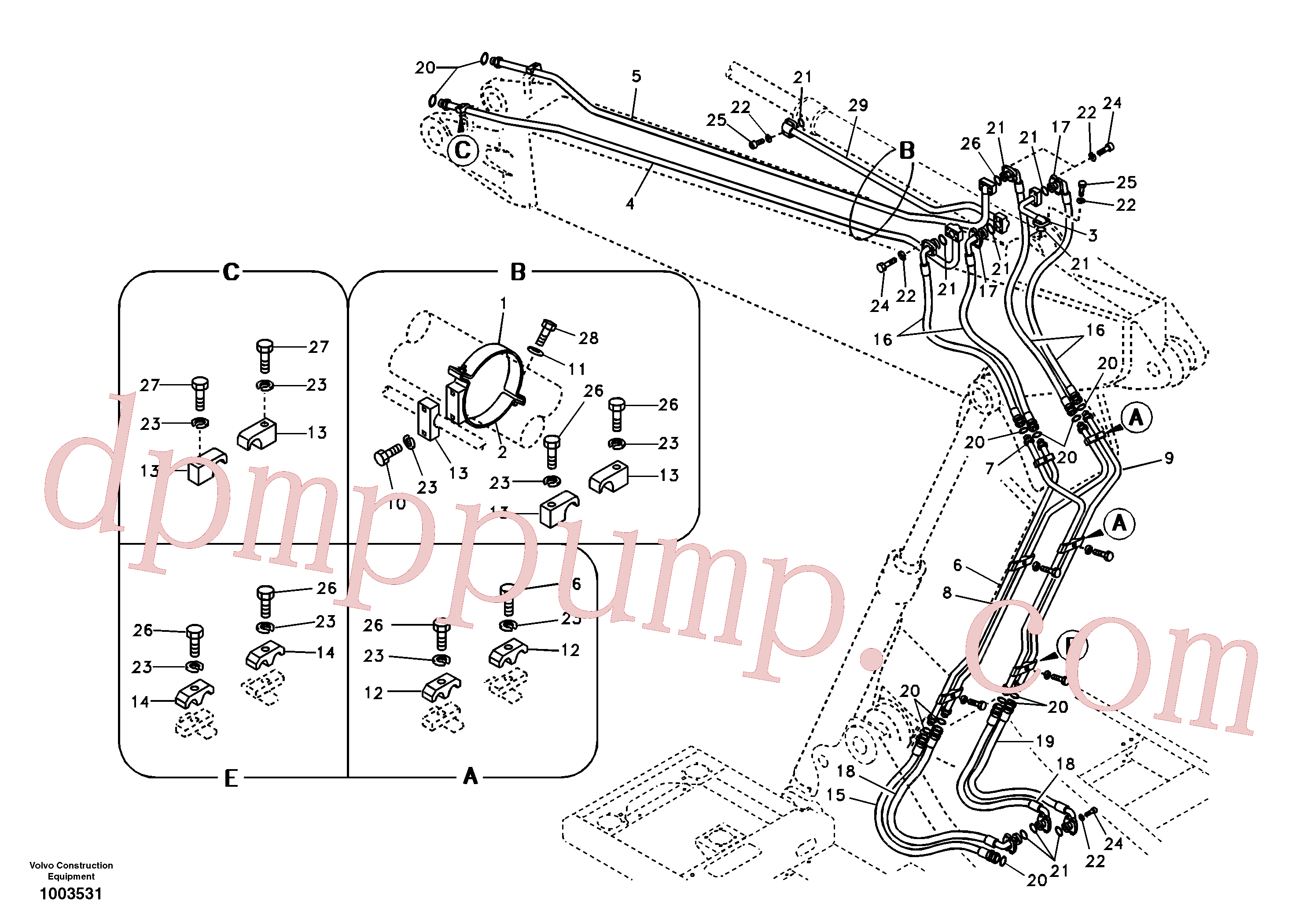 VOE14513322 for Volvo Working hydraulic, dipper arm cylinder on adjustable boom(1003531 assembly)