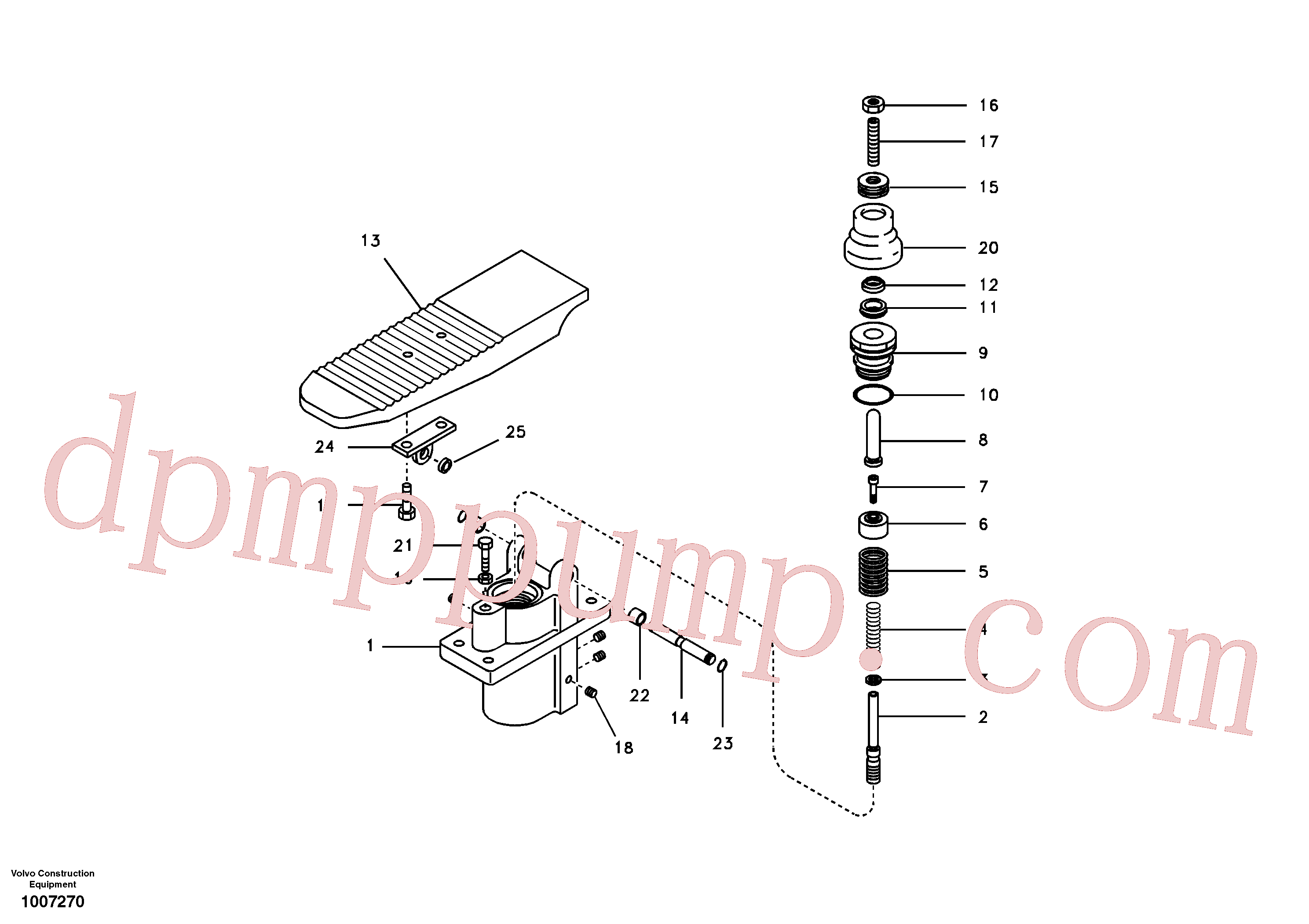 VOE990581 for Volvo Remote control valve pedal(1007270 assembly)