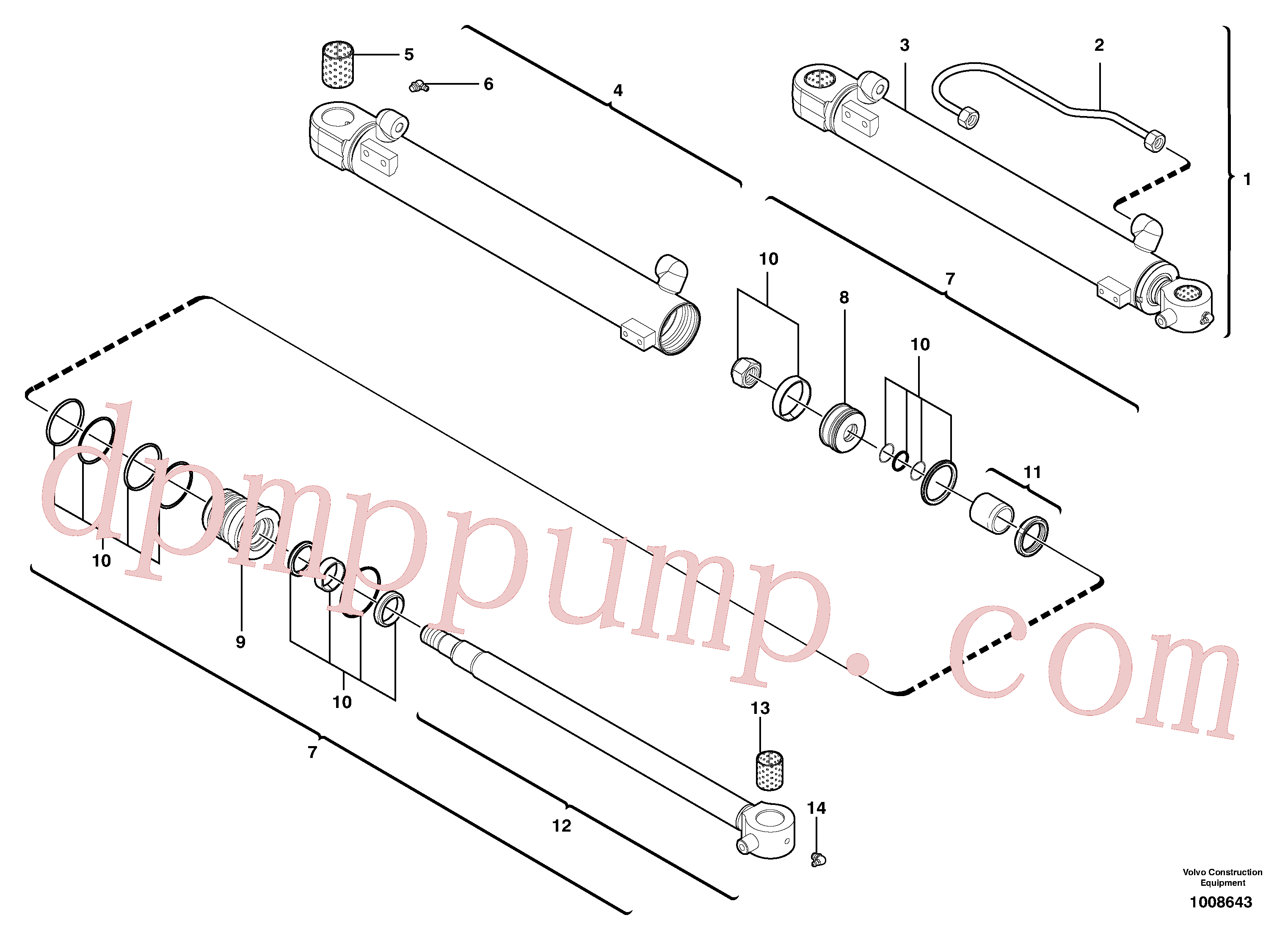 VOE11988466 for Volvo Boom cylinder(1008643 assembly)