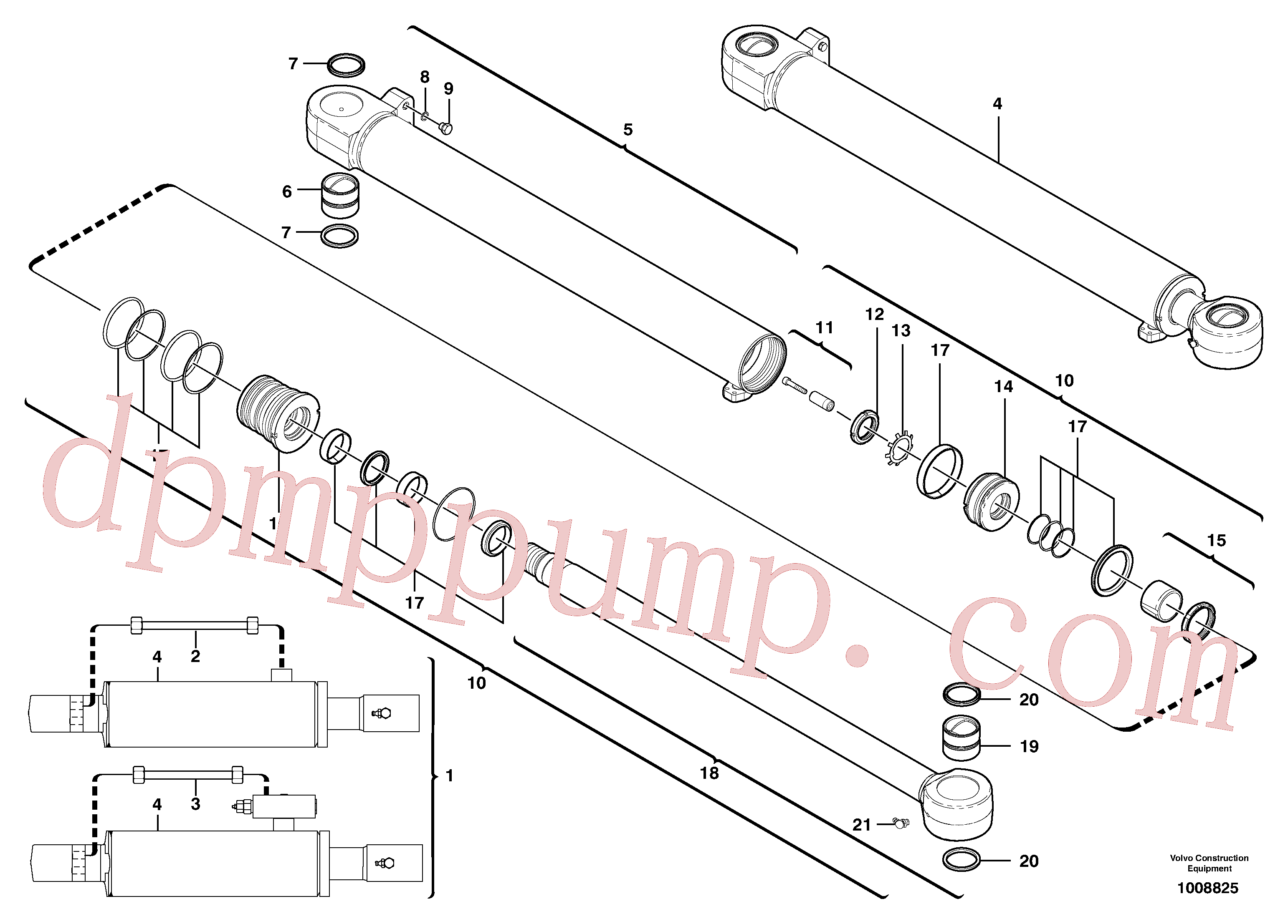 VOE11710822 for Volvo Dipper arm cylinder(1008825 assembly)