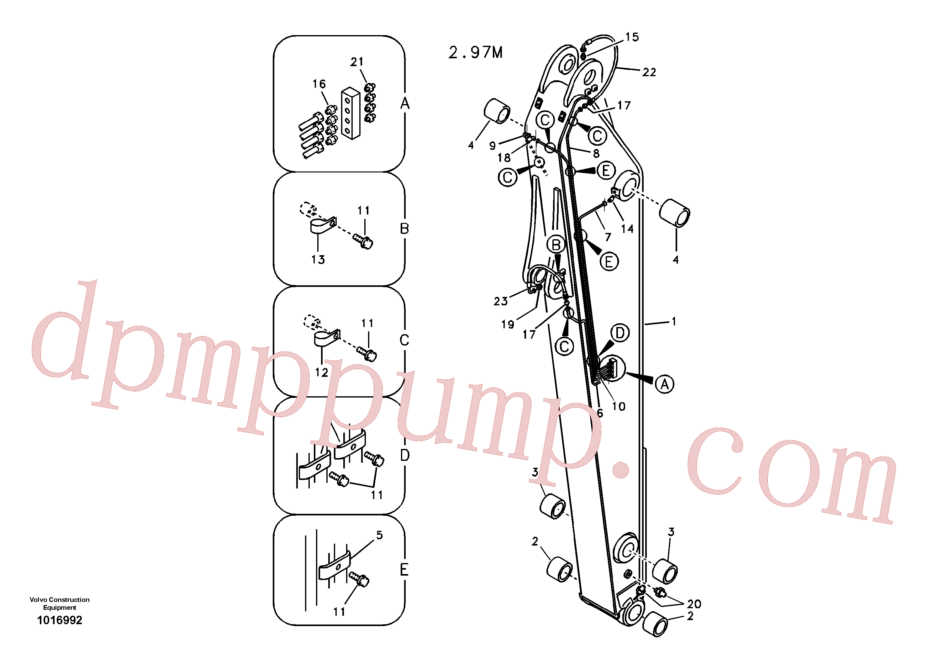 VOE14535667 for Volvo Dipper arm and grease piping with piping seat(1016992 assembly)