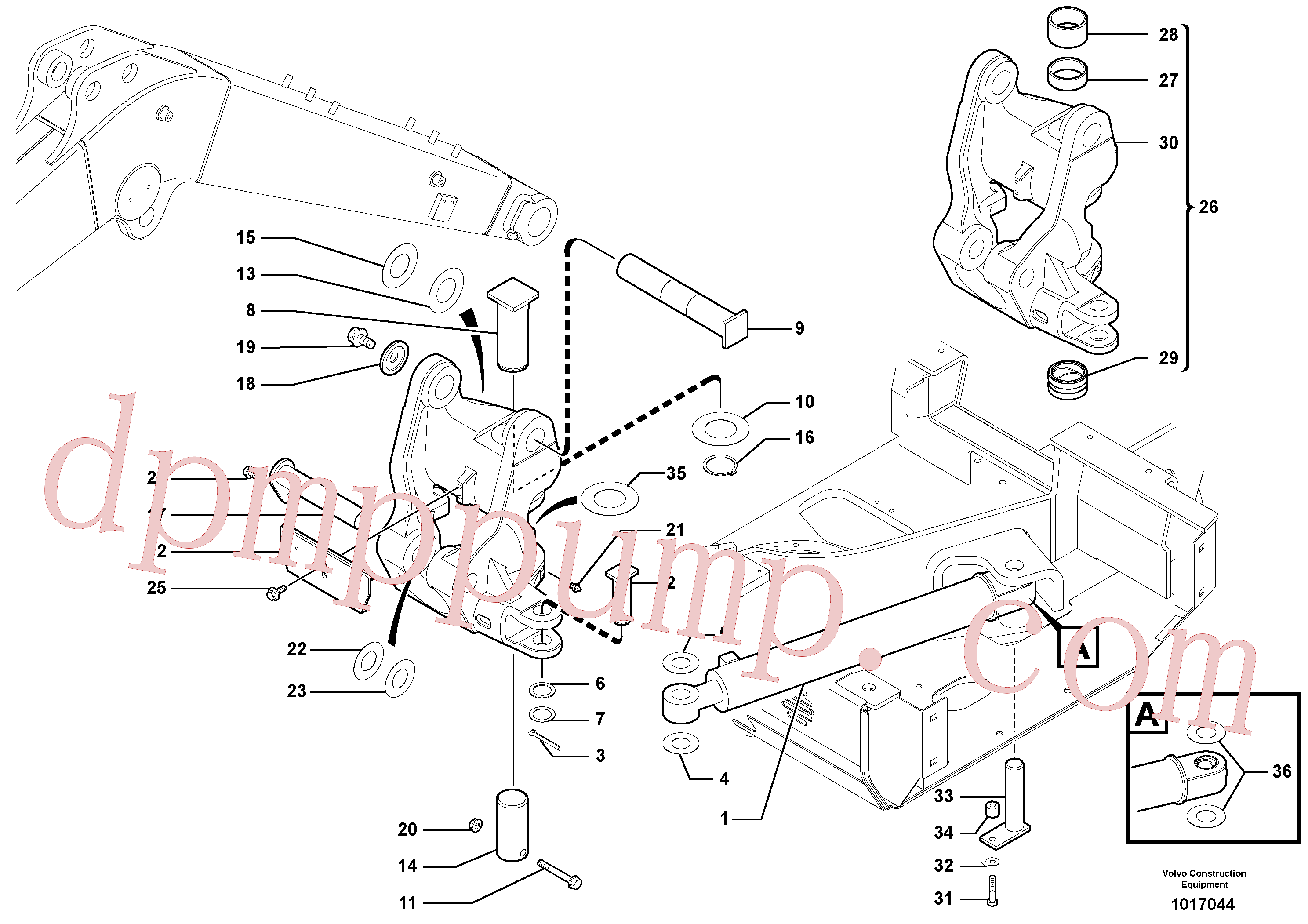 VOE11801241 for Volvo Pivot pin(1017044 assembly)