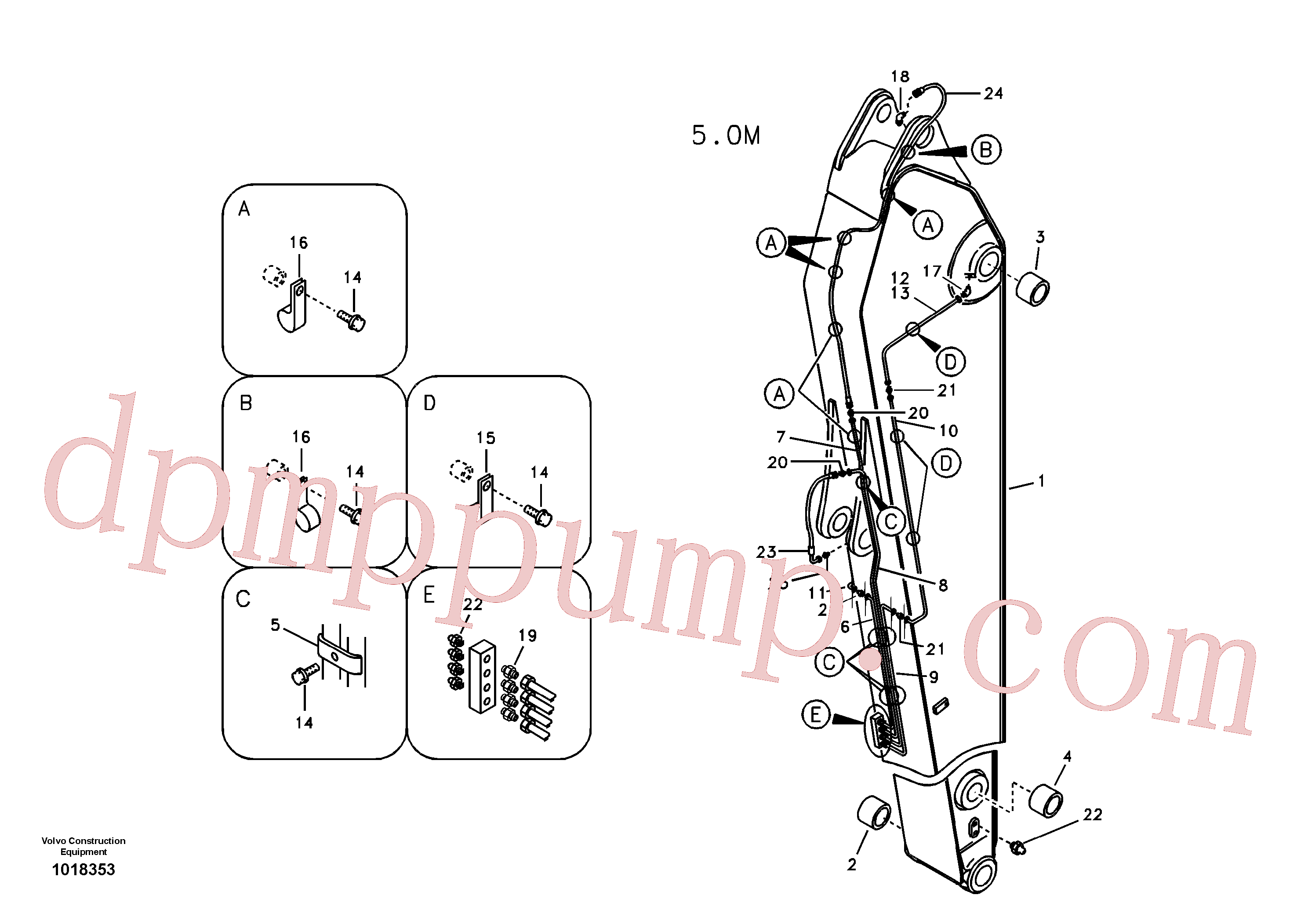 VOE14547982 for Volvo Dipper arm and grease piping with piping seat, long reach(1018353 assembly)