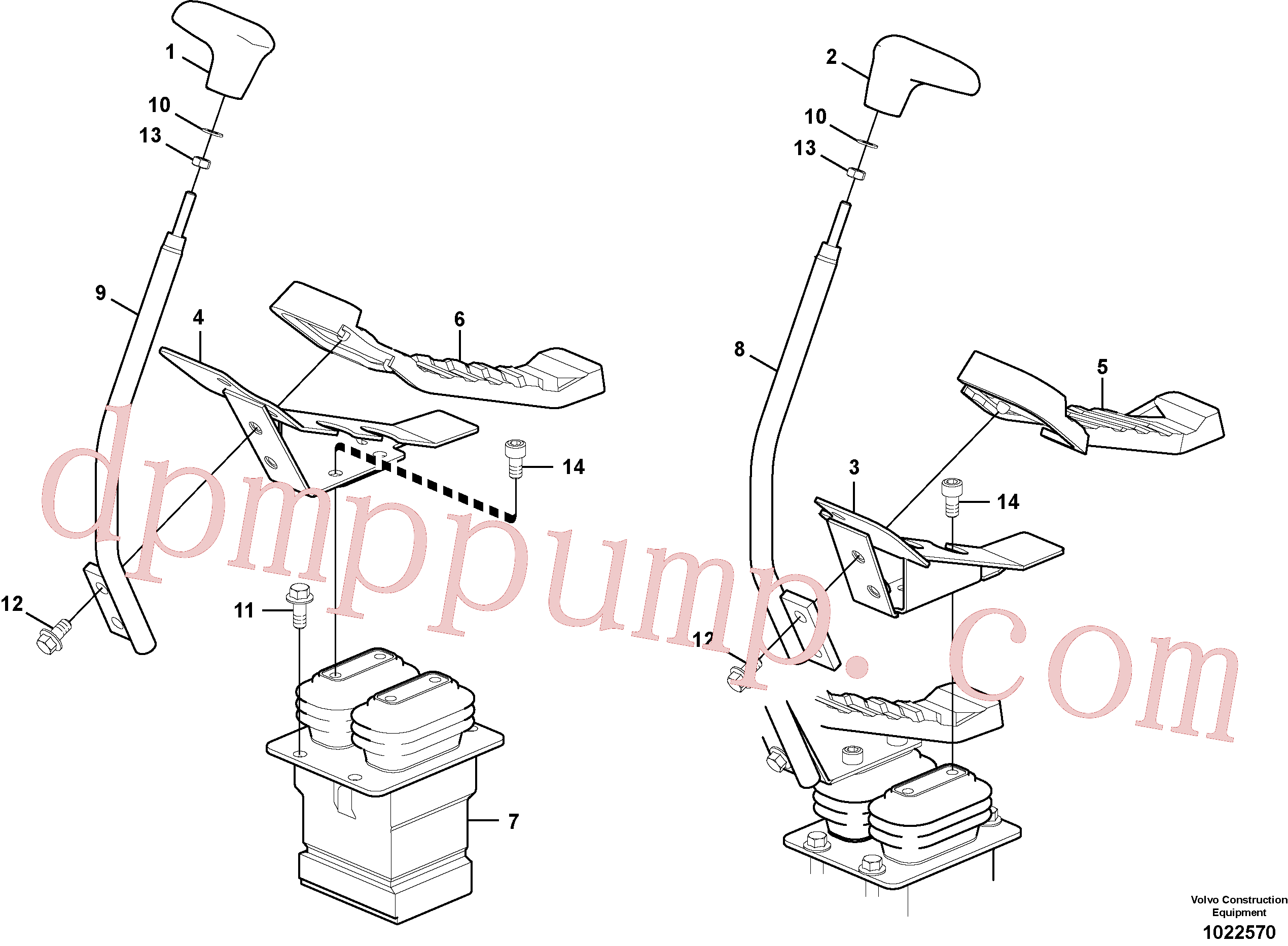 VOE14527778 for Volvo Remote control valve pedal with fitting parts(1022570 assembly)