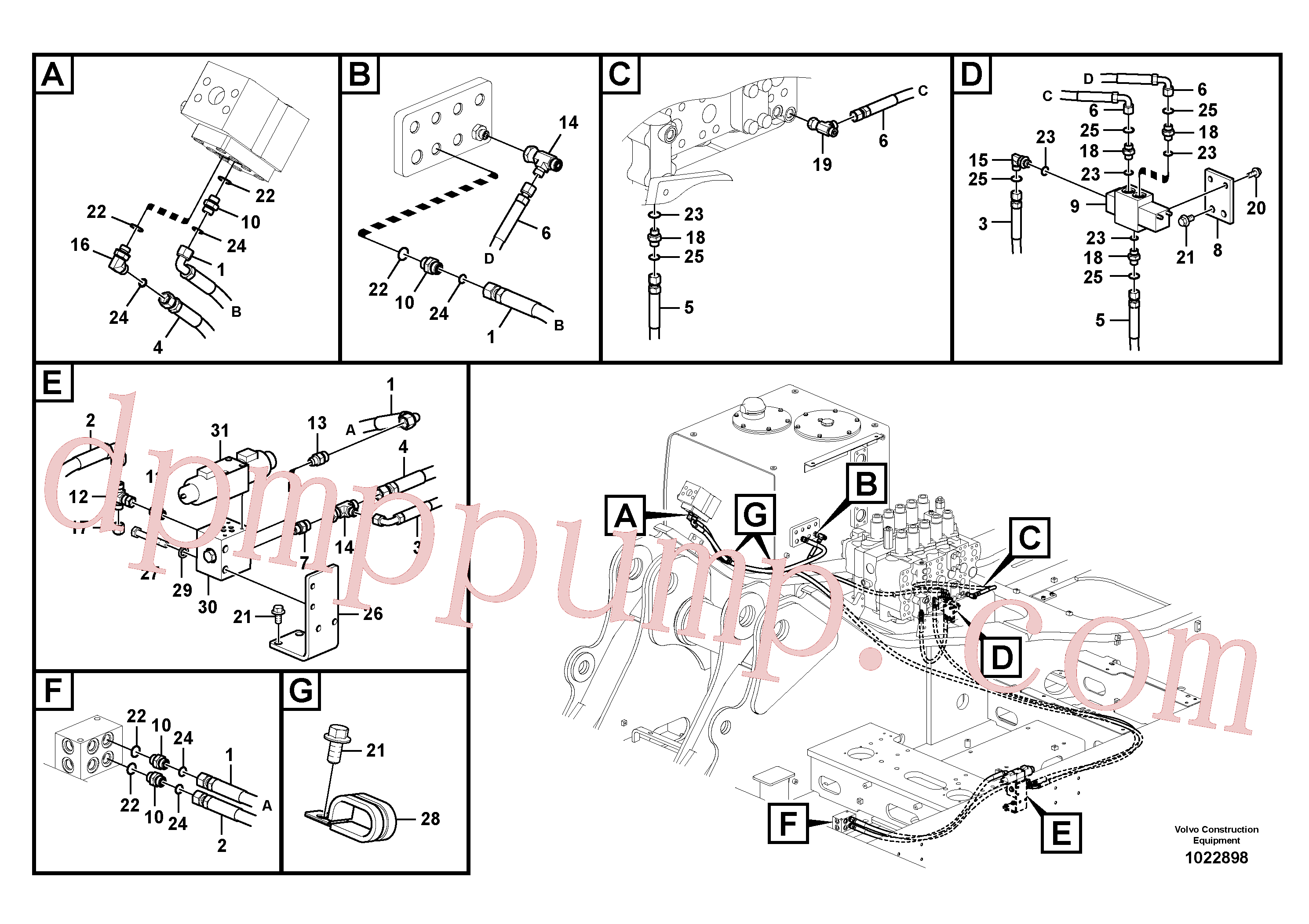 VOE14540414 for Volvo Working hydraulic, hammer and shear for 1st pump flow(1022898 assembly)