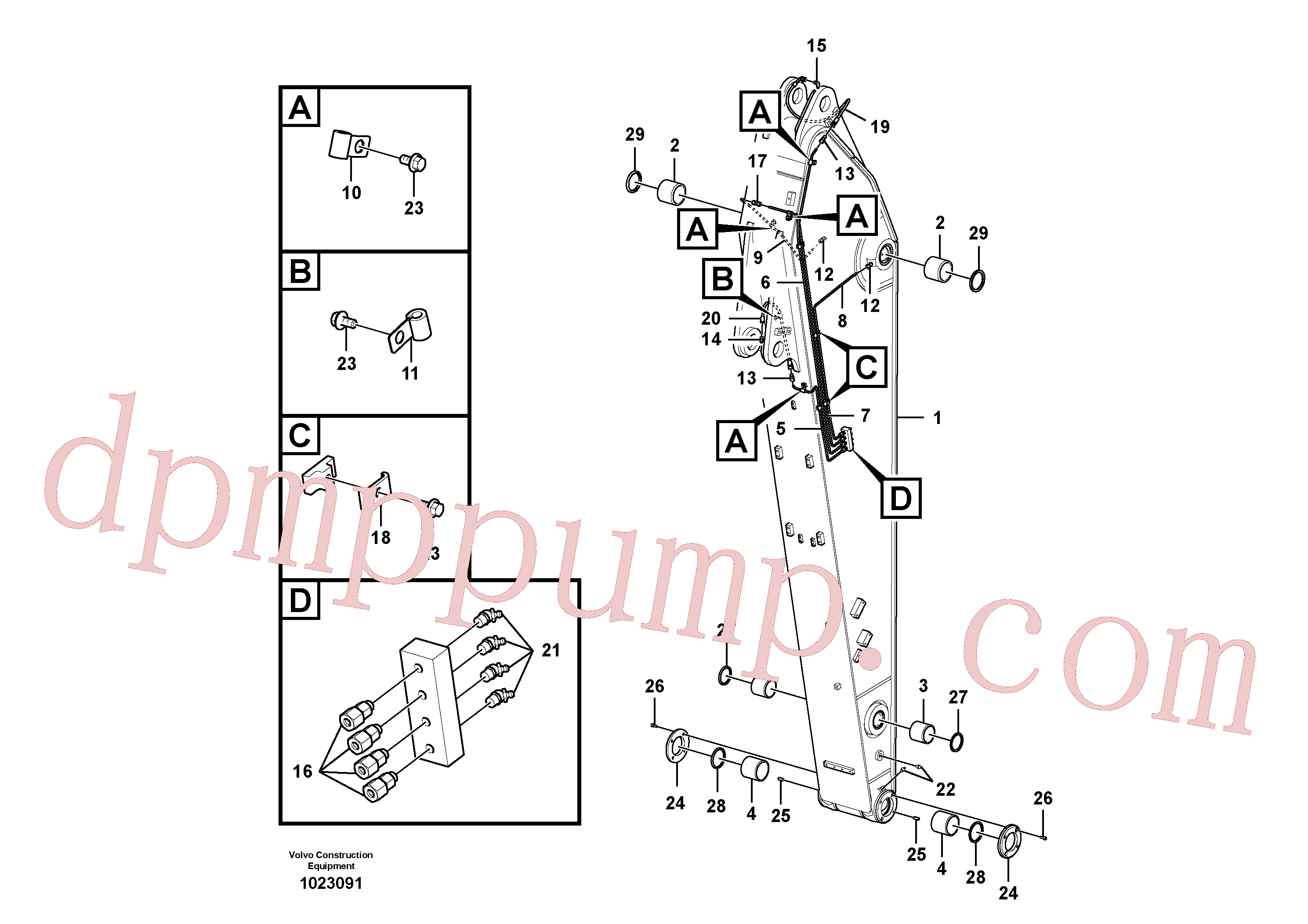 VOE14552326 for Volvo Dipper arm and grease piping with piping seat(1023091 assembly)