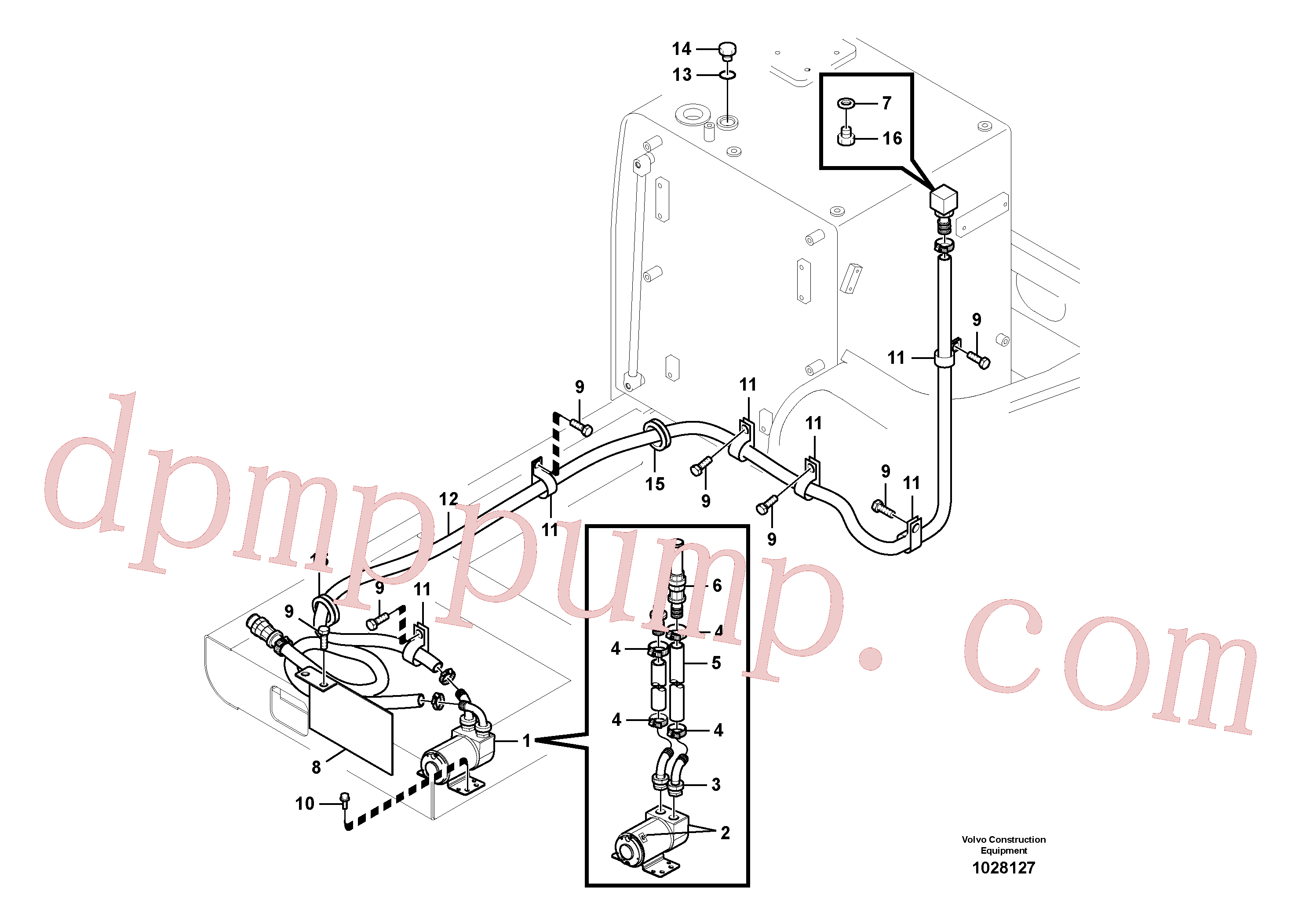VOE990581 for Volvo Fuel filling pump with assembling details(1028127 assembly)