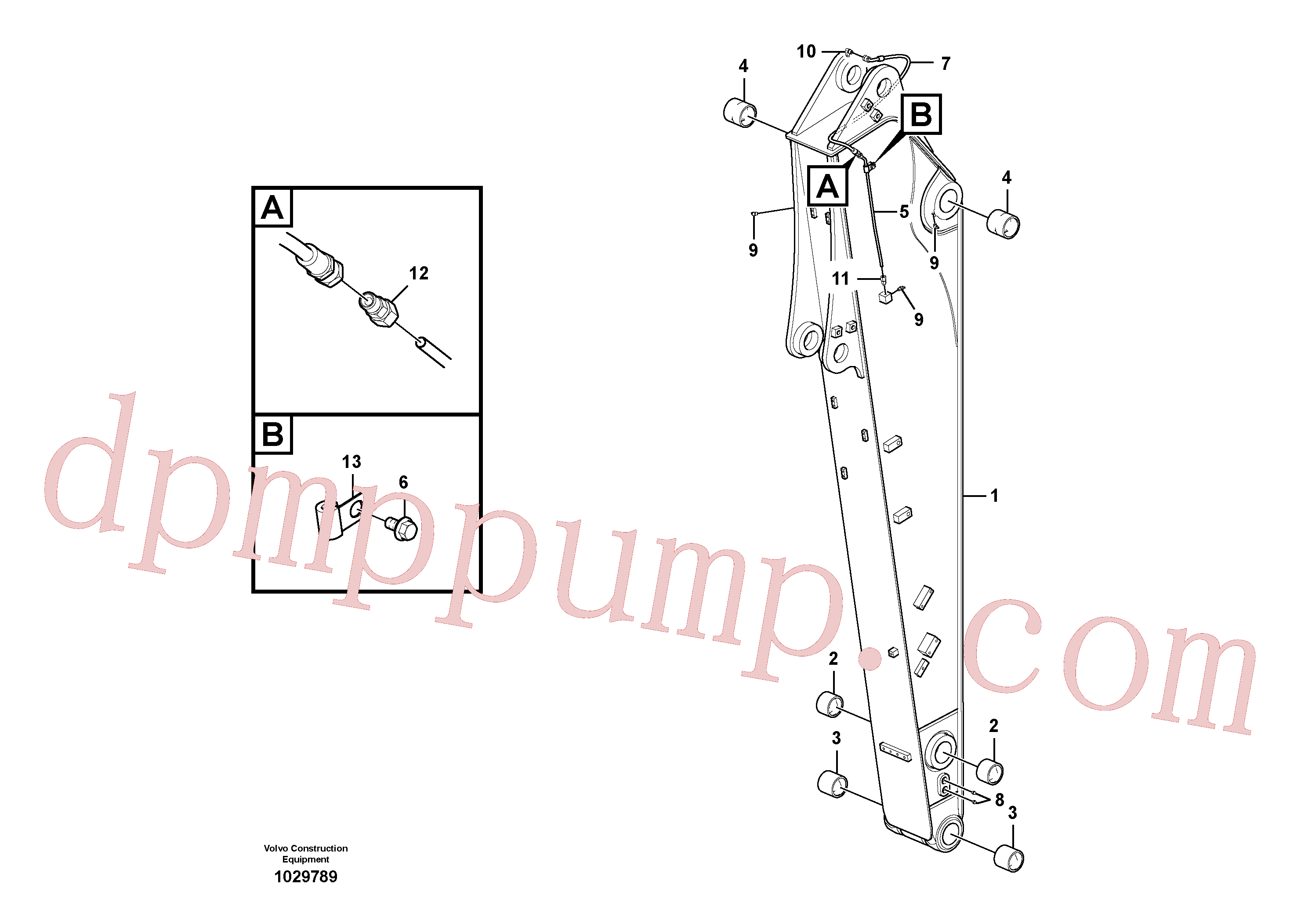 VOE14564411 for Volvo Dipper arm and grease piping with piping seat, long reach(1029789 assembly)