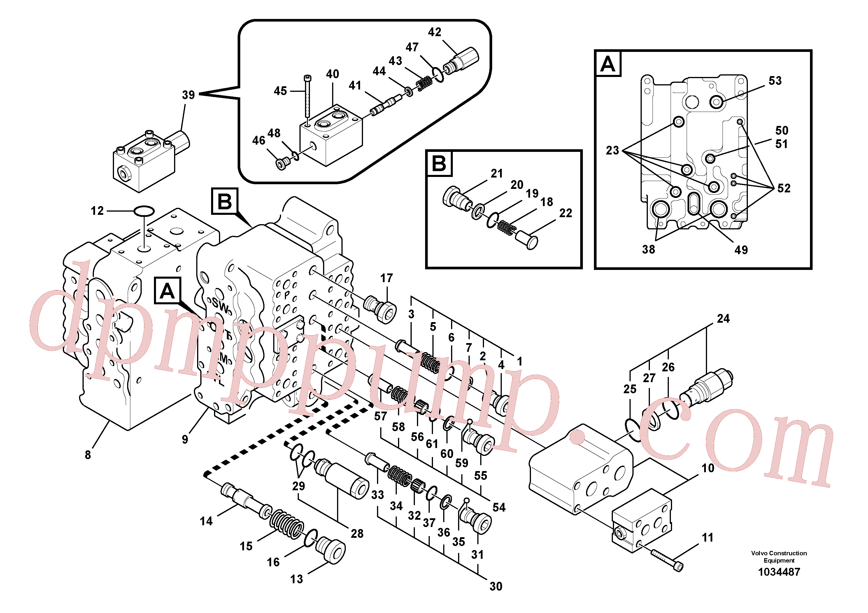 VOE14526805 for Volvo Main control valve, relief valve and dipper arm holding, Main control valve, swing and option and dipper arm and travel Lh(1034487 assembly)