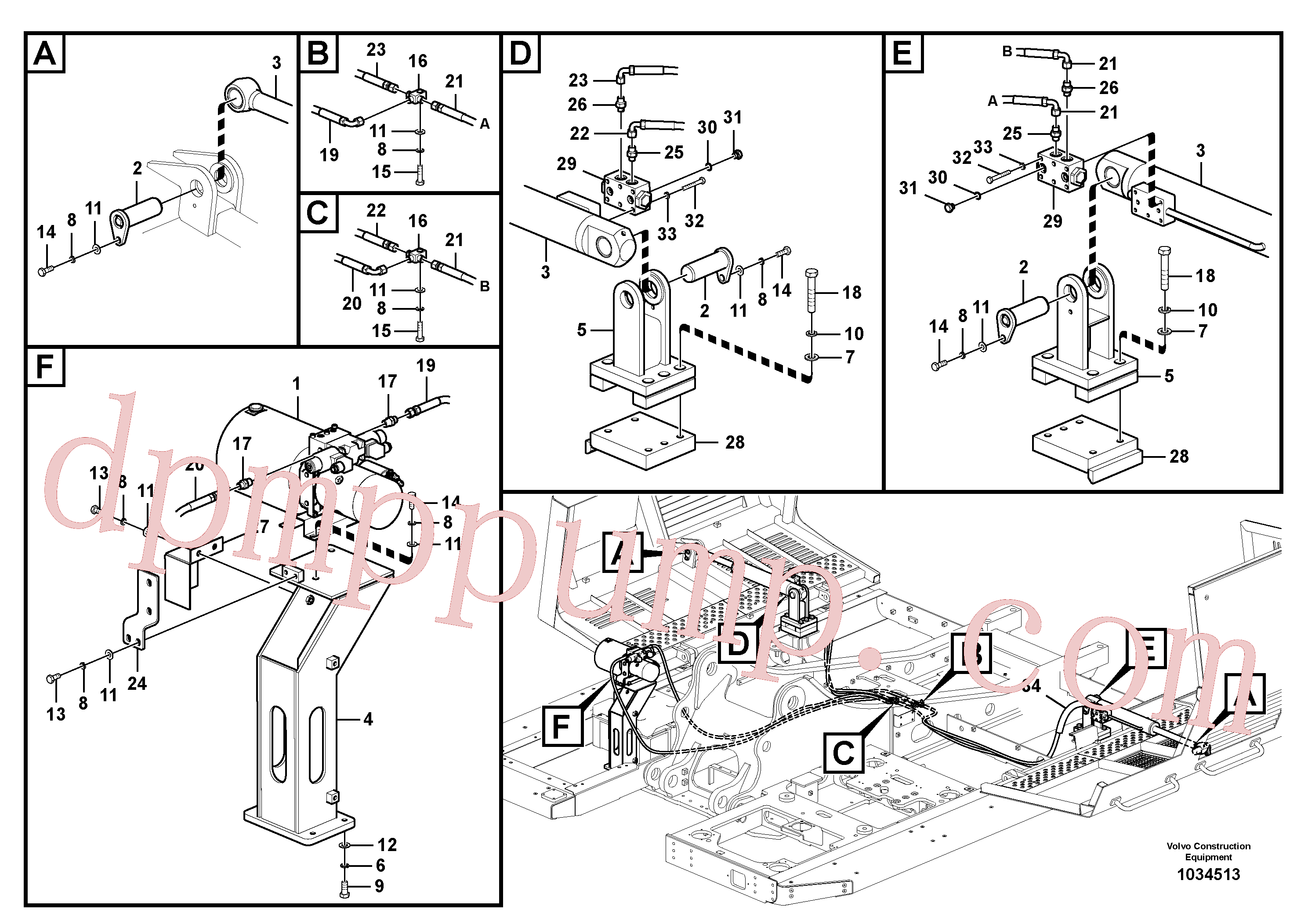 VOE14561069 for Volvo Working hydraulics, Gullwing tilting device(1034513 assembly)
