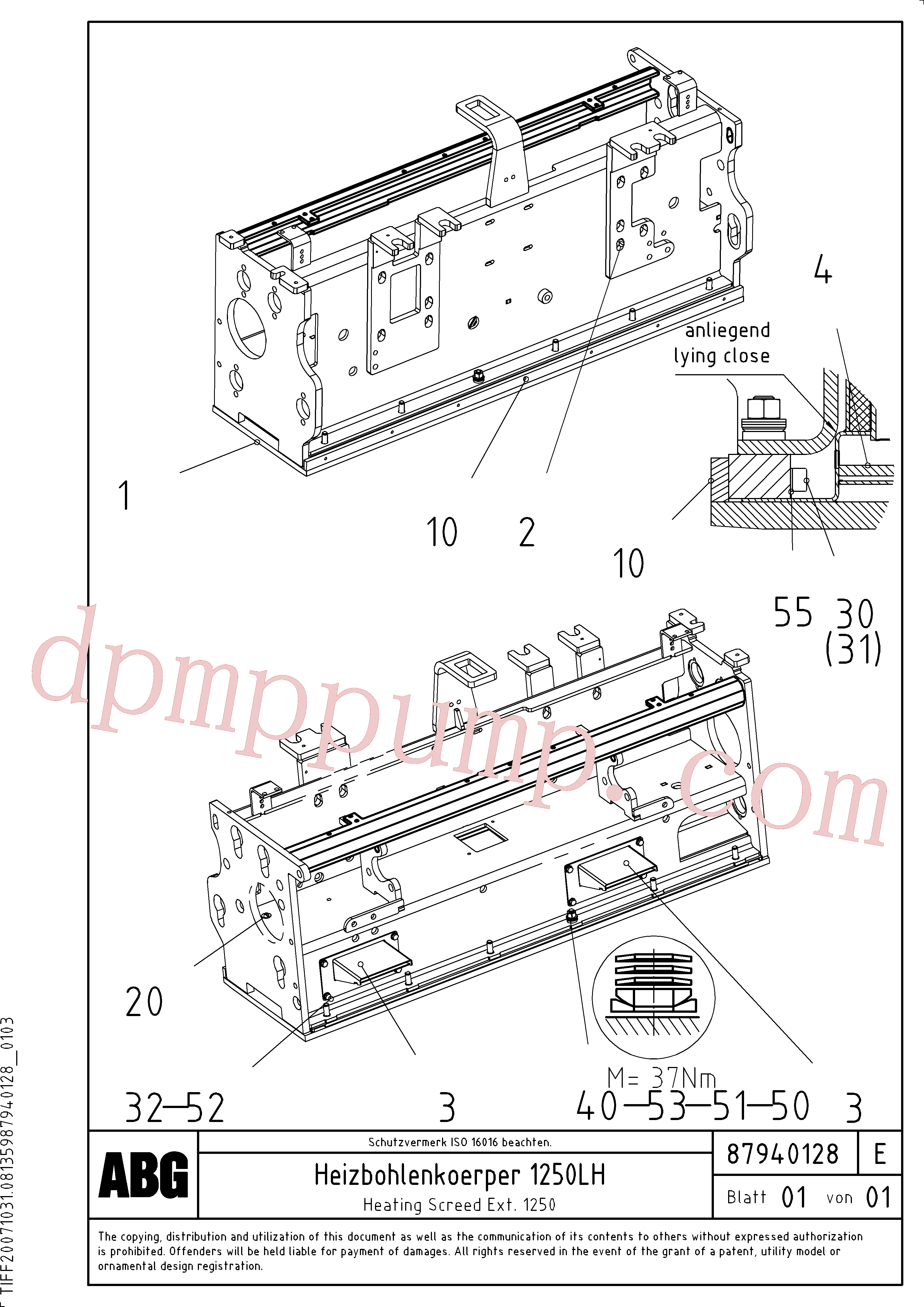 RM87905659 for Volvo Heating screed for extension(1047915 assembly)