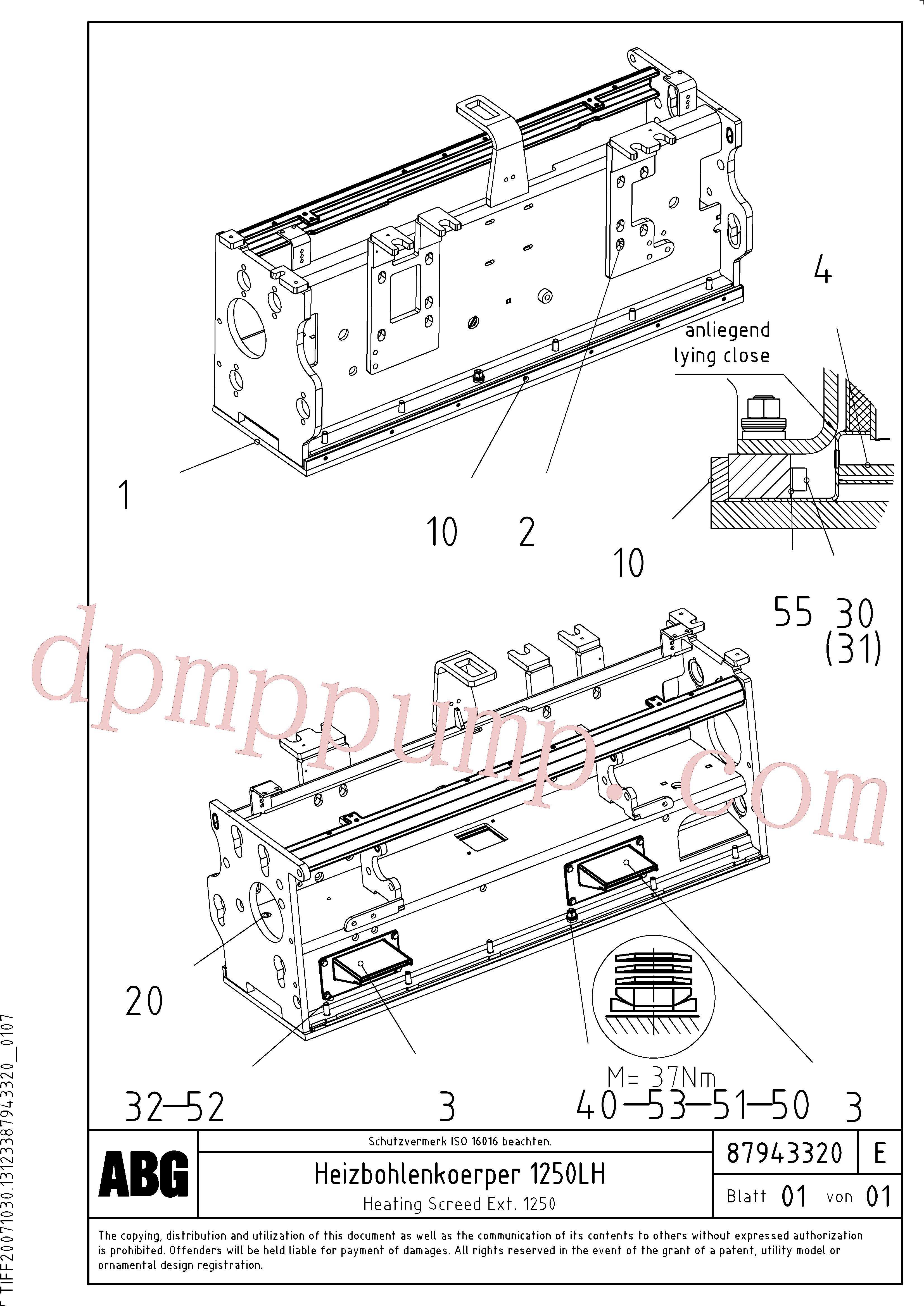 RM87905659 for Volvo Heating screed for extension(1047971 assembly)