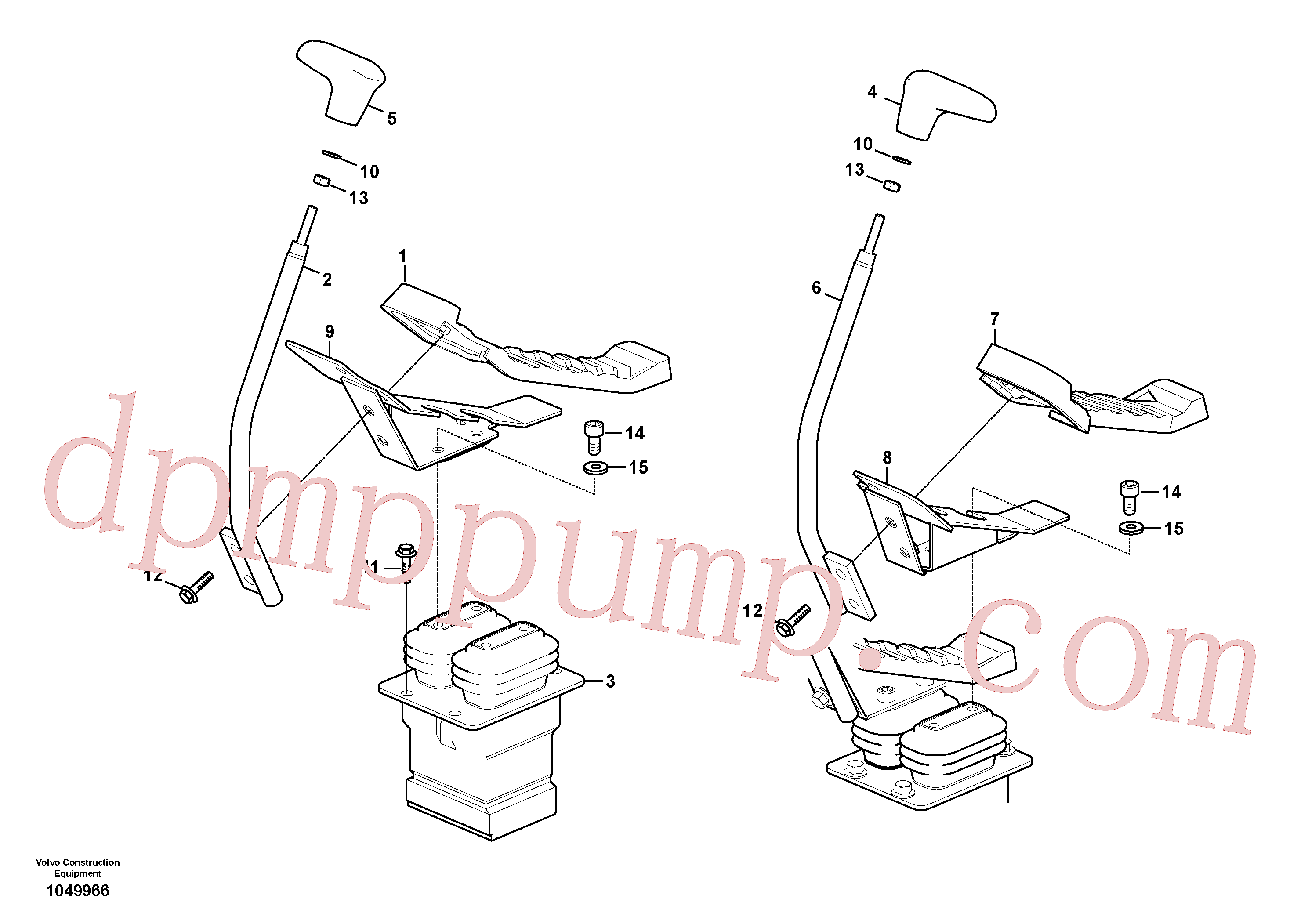 VOE14527778 for Volvo Remote control valve pedal with fitting parts(1049966 assembly)