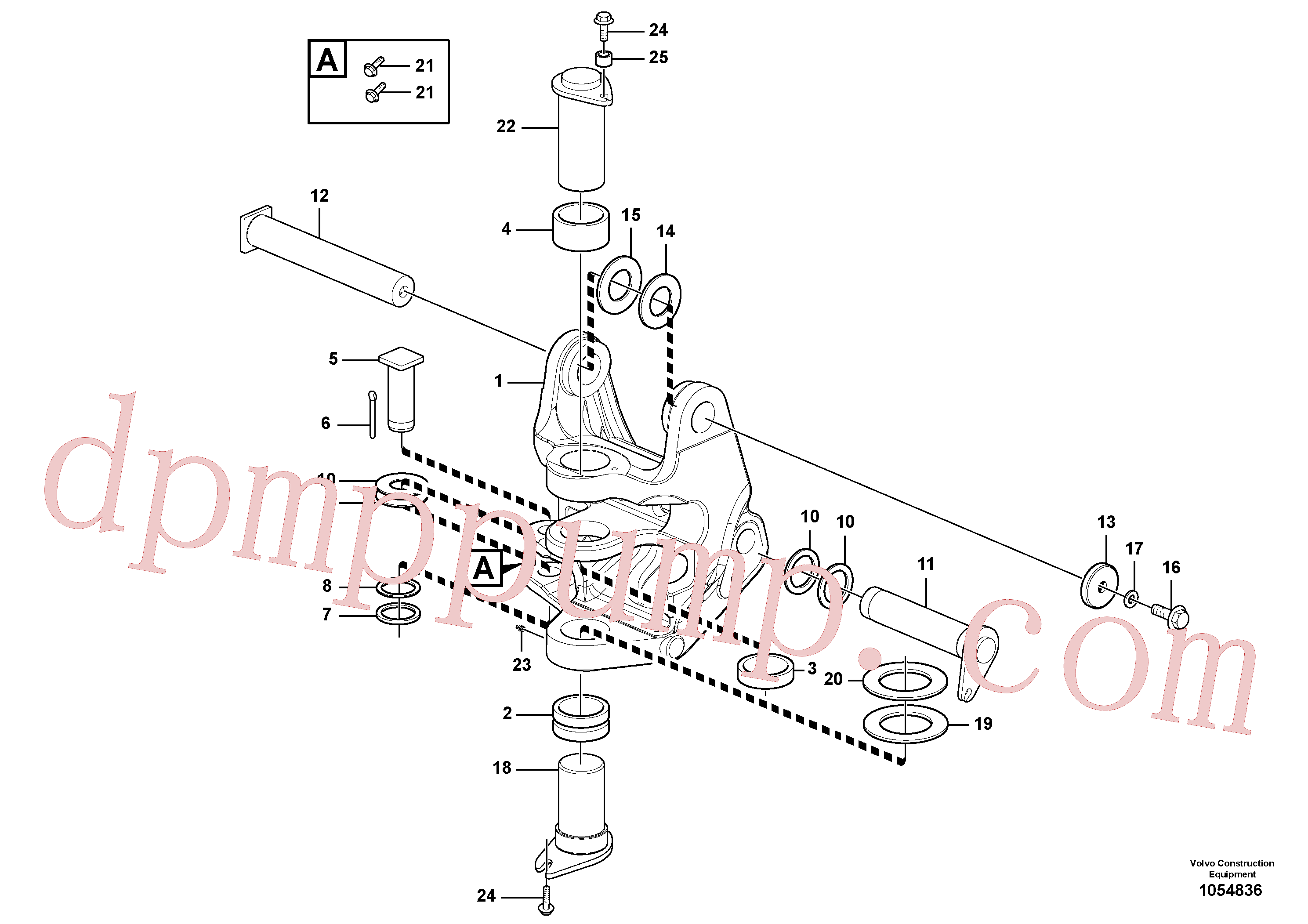 VOE11801241 for Volvo Pivot pin, Slewing post and swing bearing(1054836 assembly)