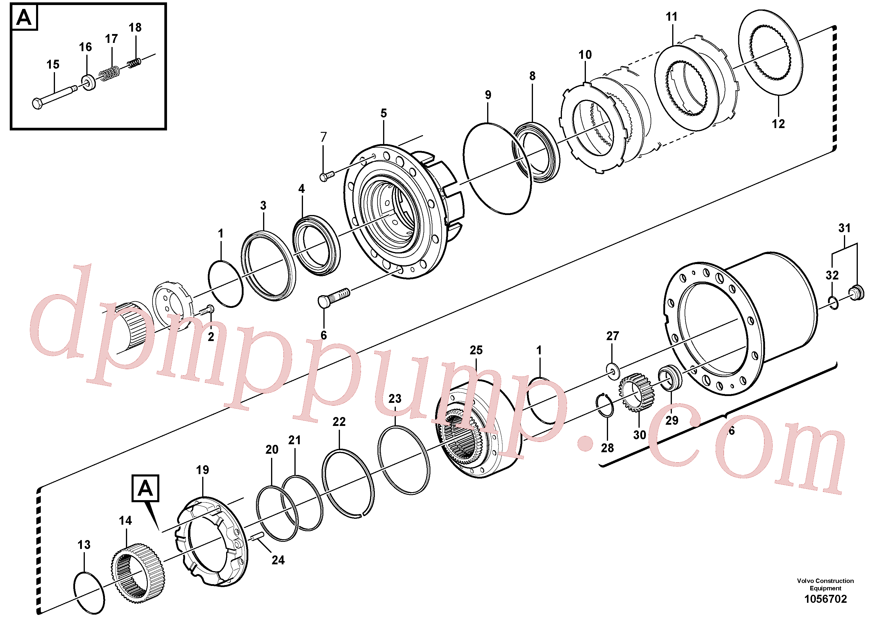 VOE12743123 for Volvo Front axle, Hub reduction, Rear axle, Hub reduction(1056702 assembly)