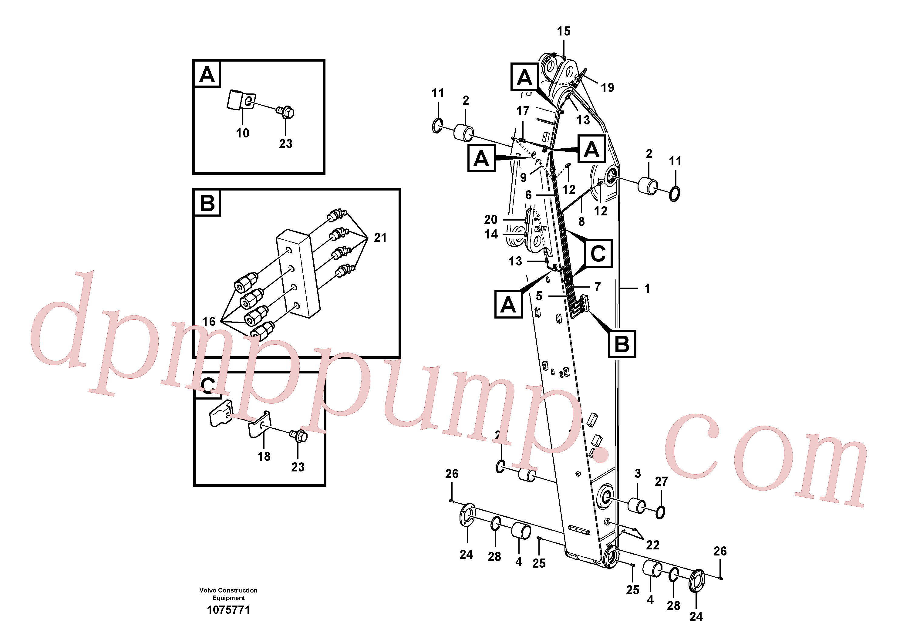 VOE14552326 for Volvo Dipper arm and grease piping with piping seat(1075771 assembly)