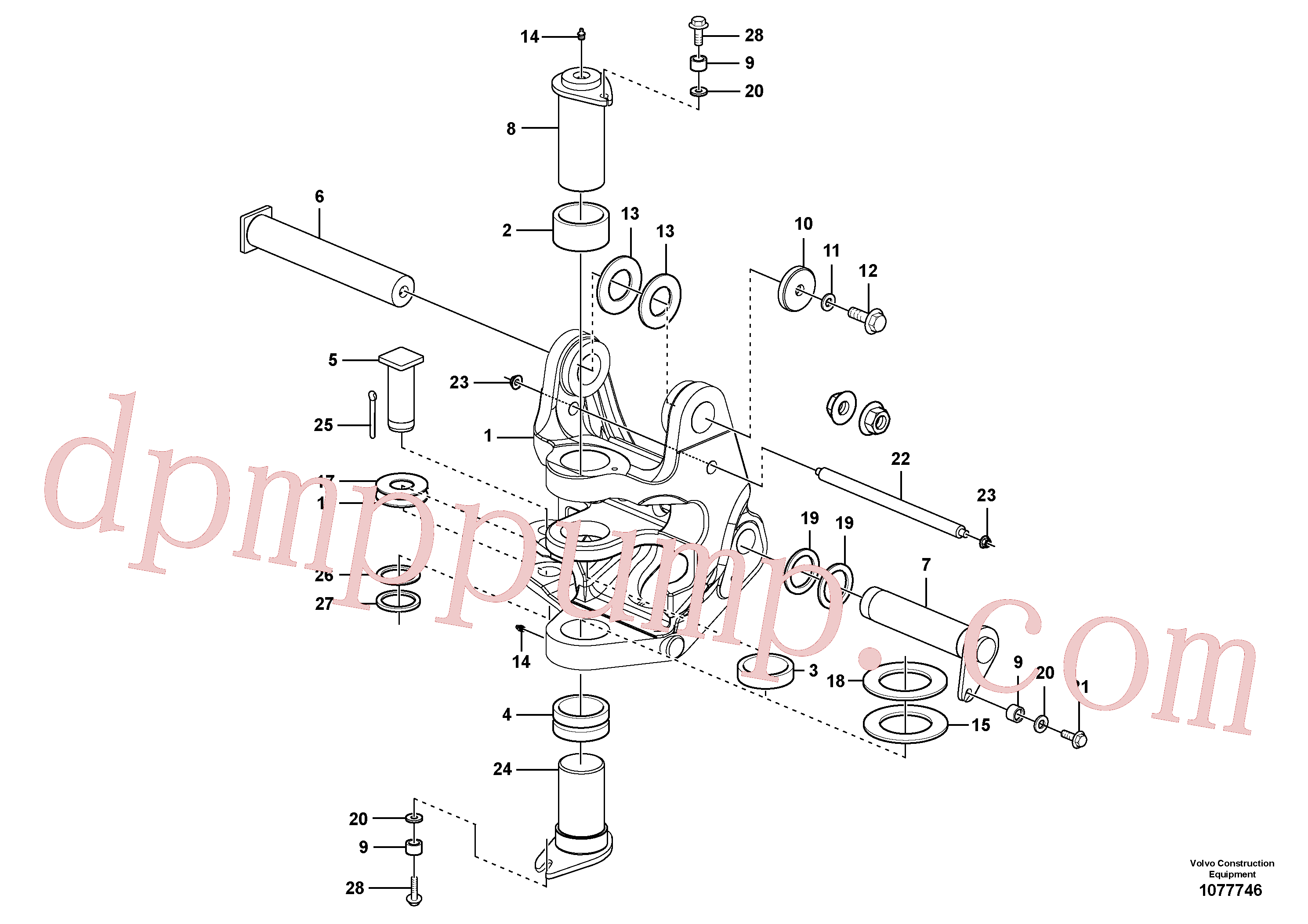 VOE11801241 for Volvo Pivot pin(1077746 assembly)