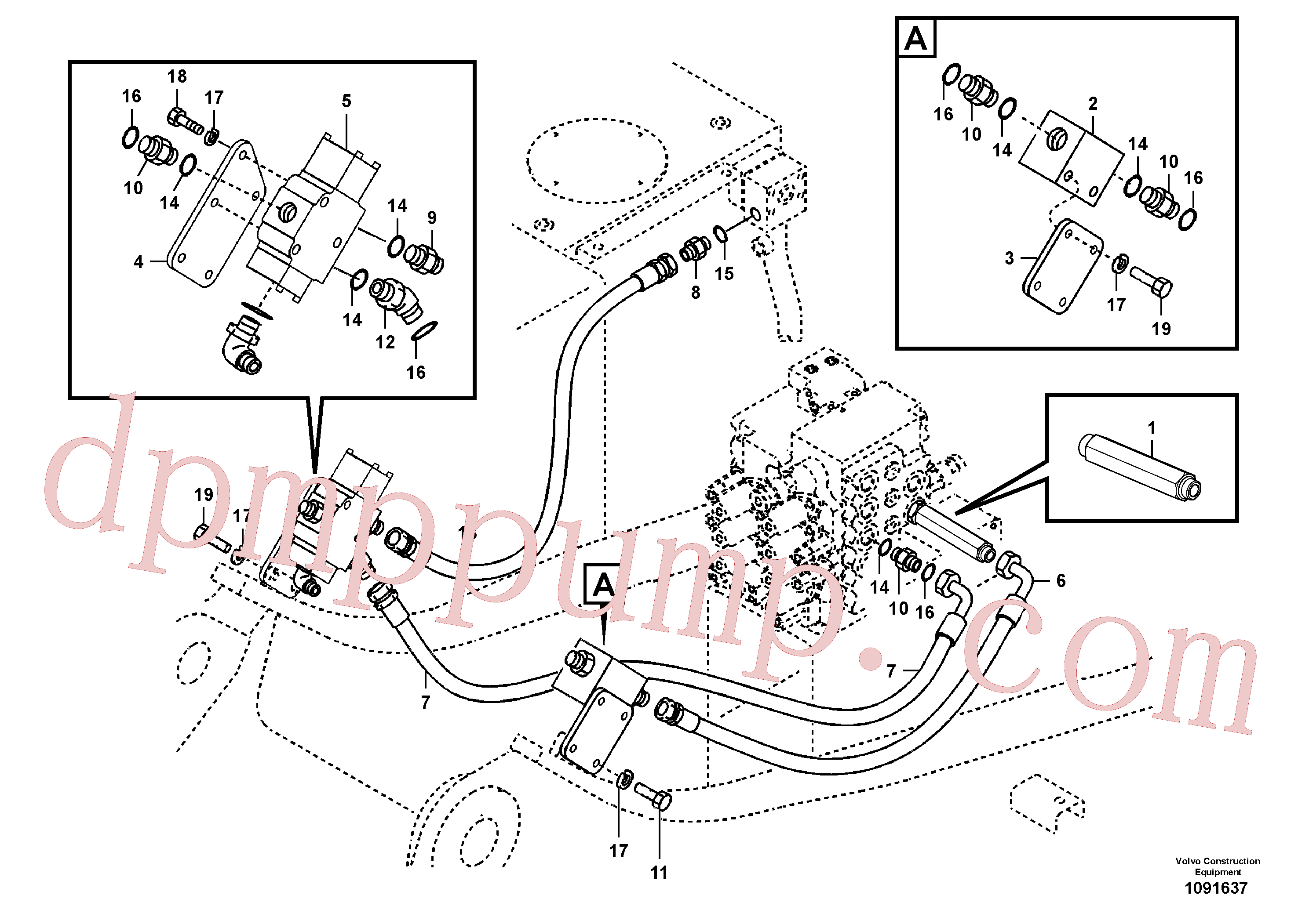 SA9451-06217 for Volvo Working hydraulic, hammer and shear for upper(1091637 assembly)