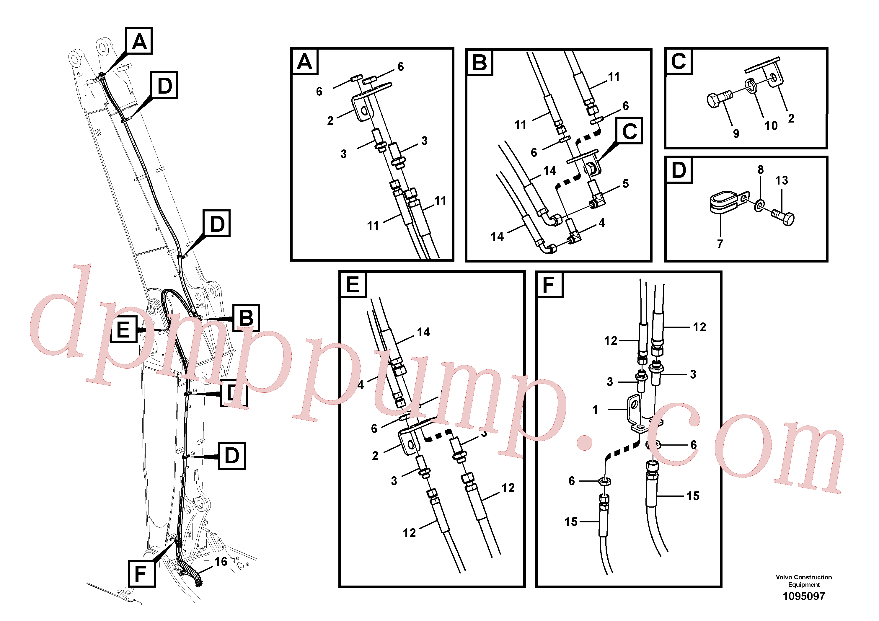 VOE14588305 for Volvo Working hydraulic, quick fit on adjustable boom(1095097 assembly)