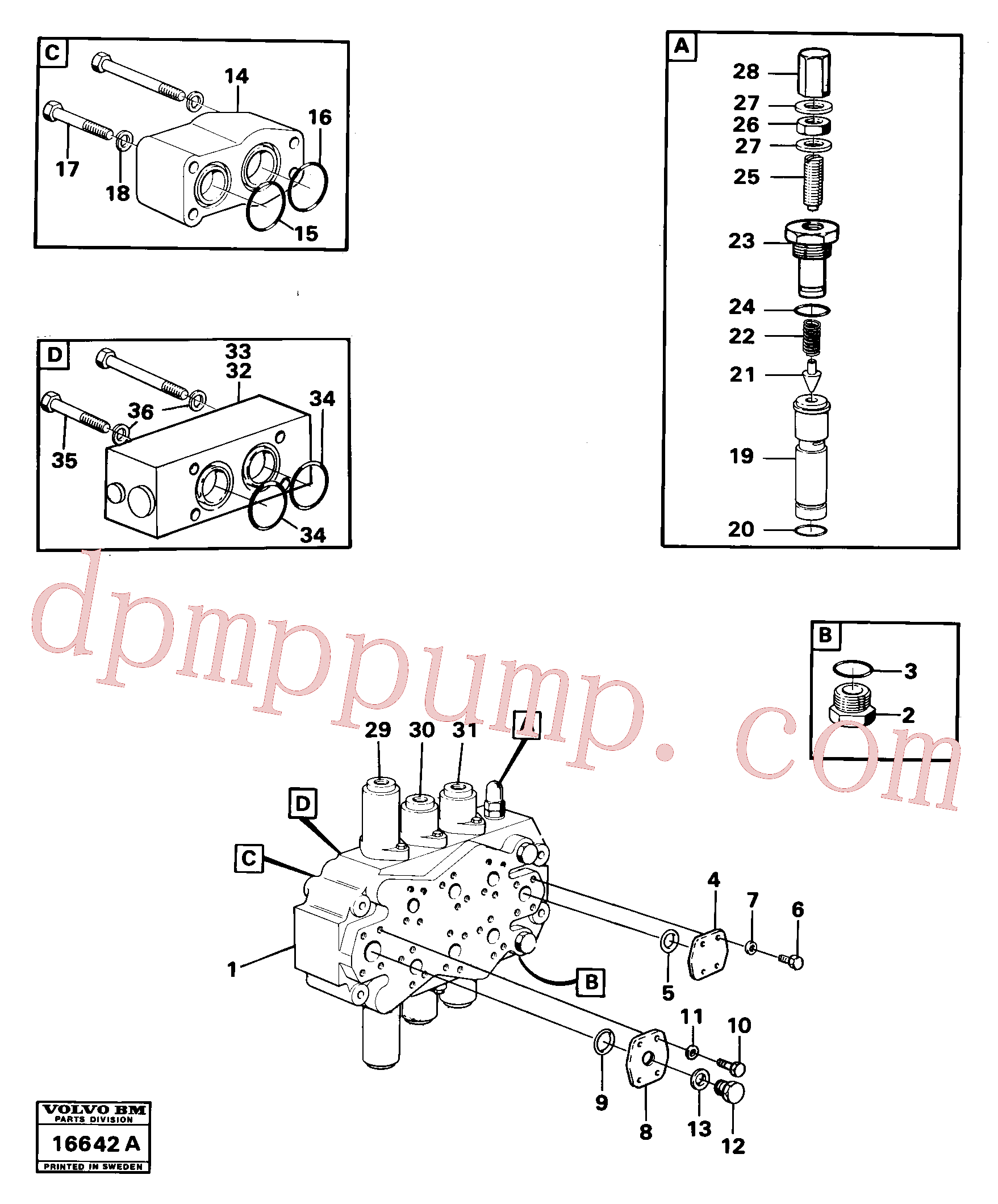 VOE6631316 for Volvo Control valve(16642A assembly)