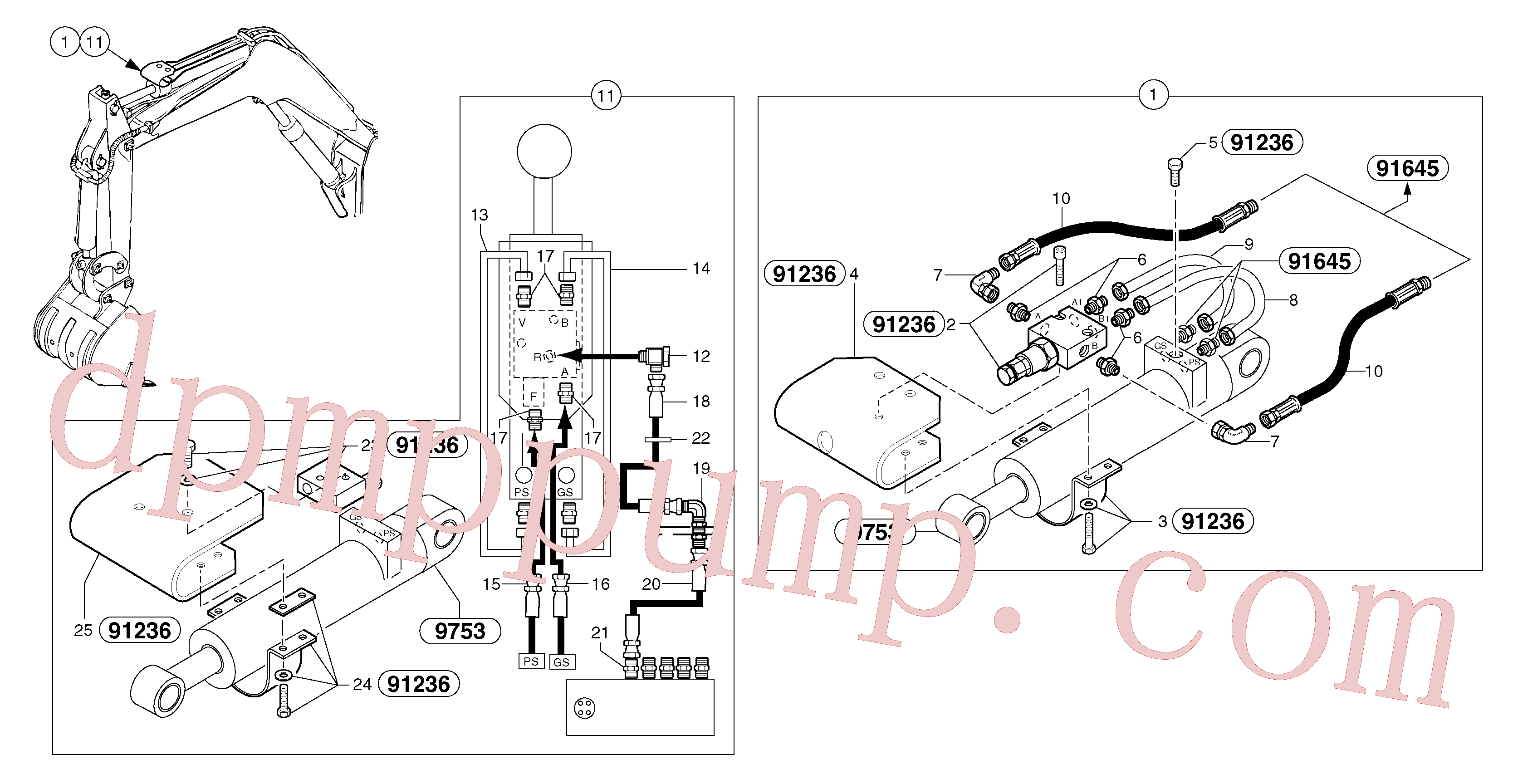 PJ5910720 for Volvo Hydraulic circuit ( safety valve / dipper arm )(91649X1 assembly)