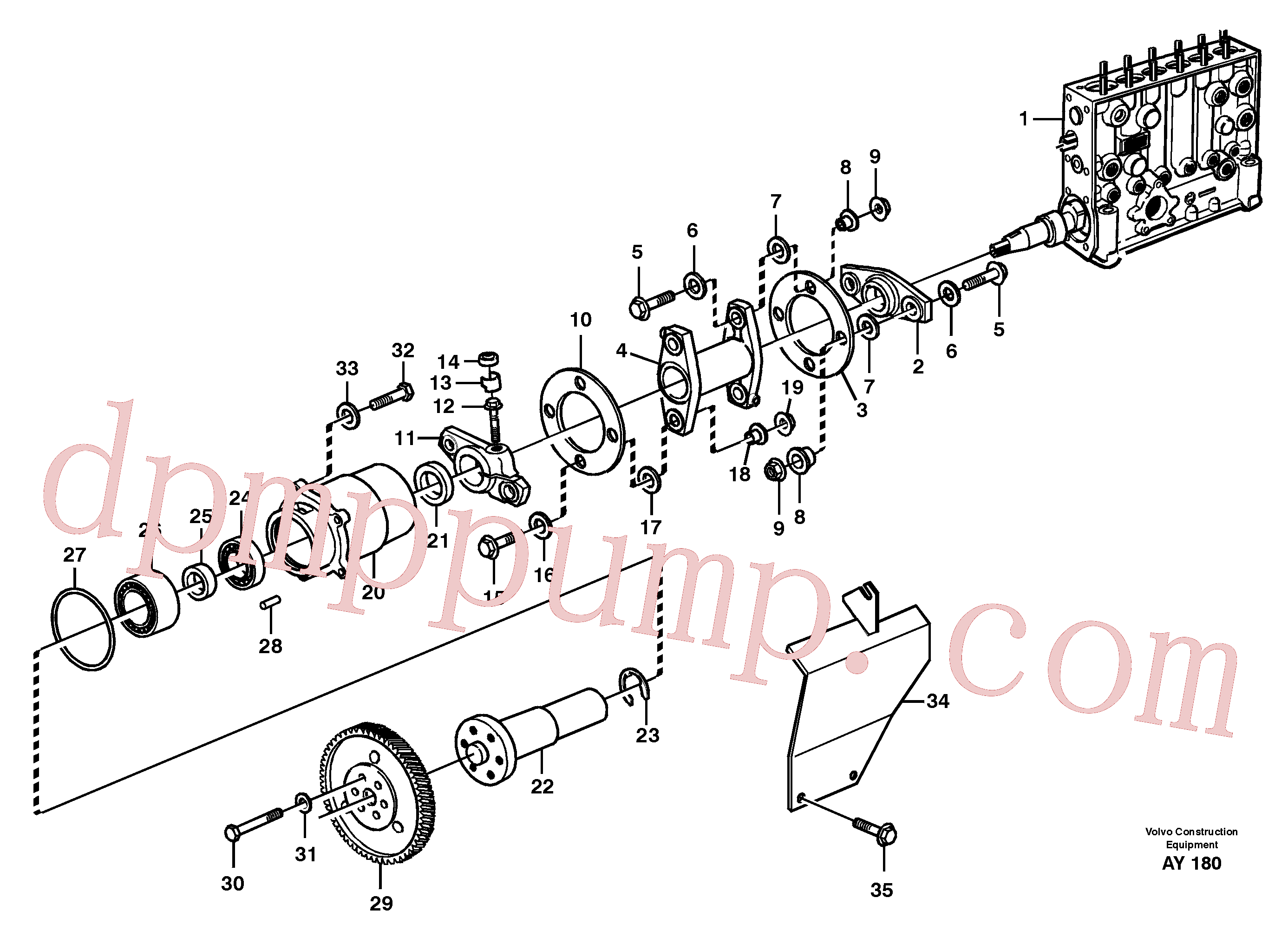 VOE914540 for Volvo Pump drive(AY180 assembly)