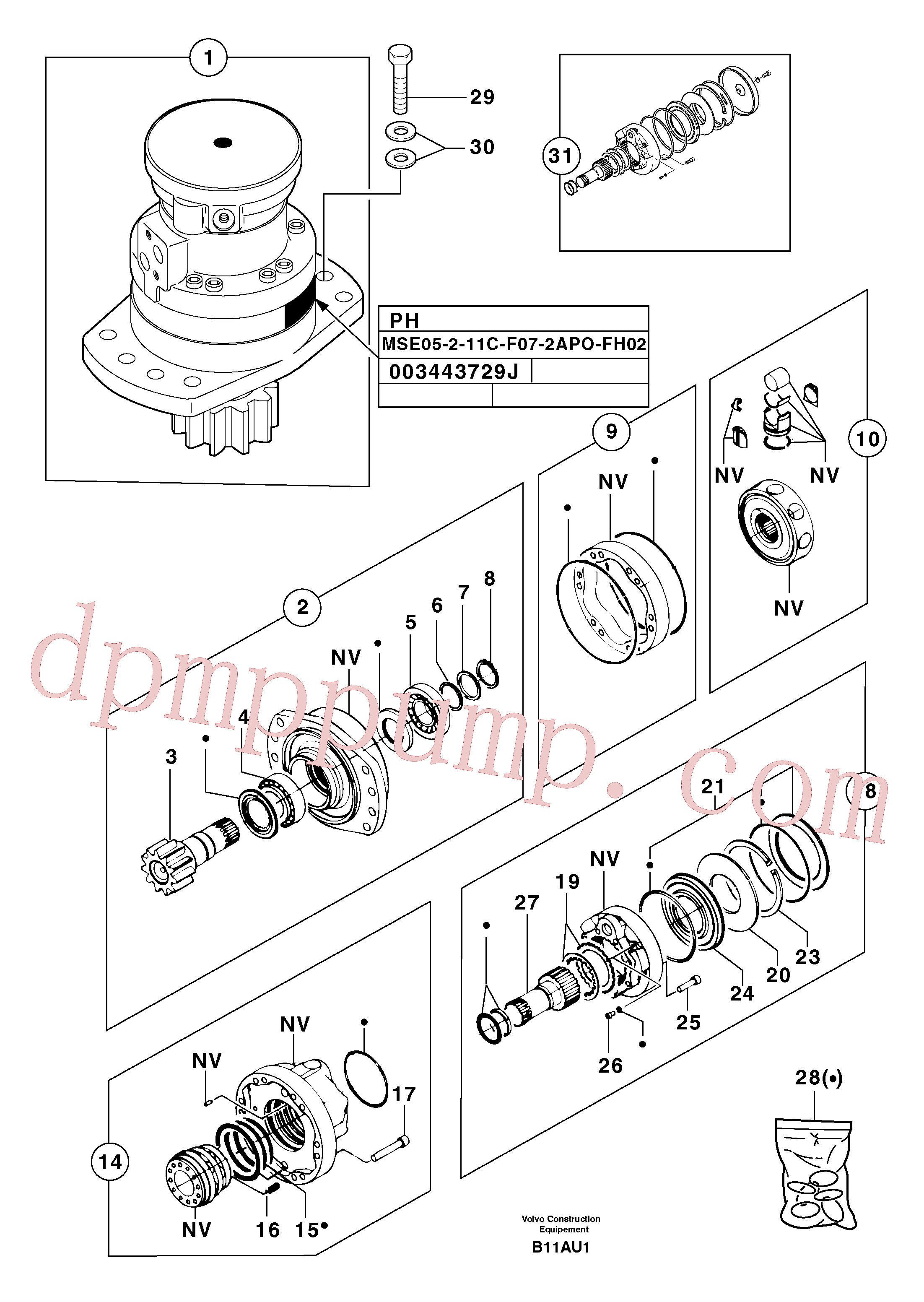 PJ7416388 for Volvo Slewing gear motor(B11AU1 assembly)
