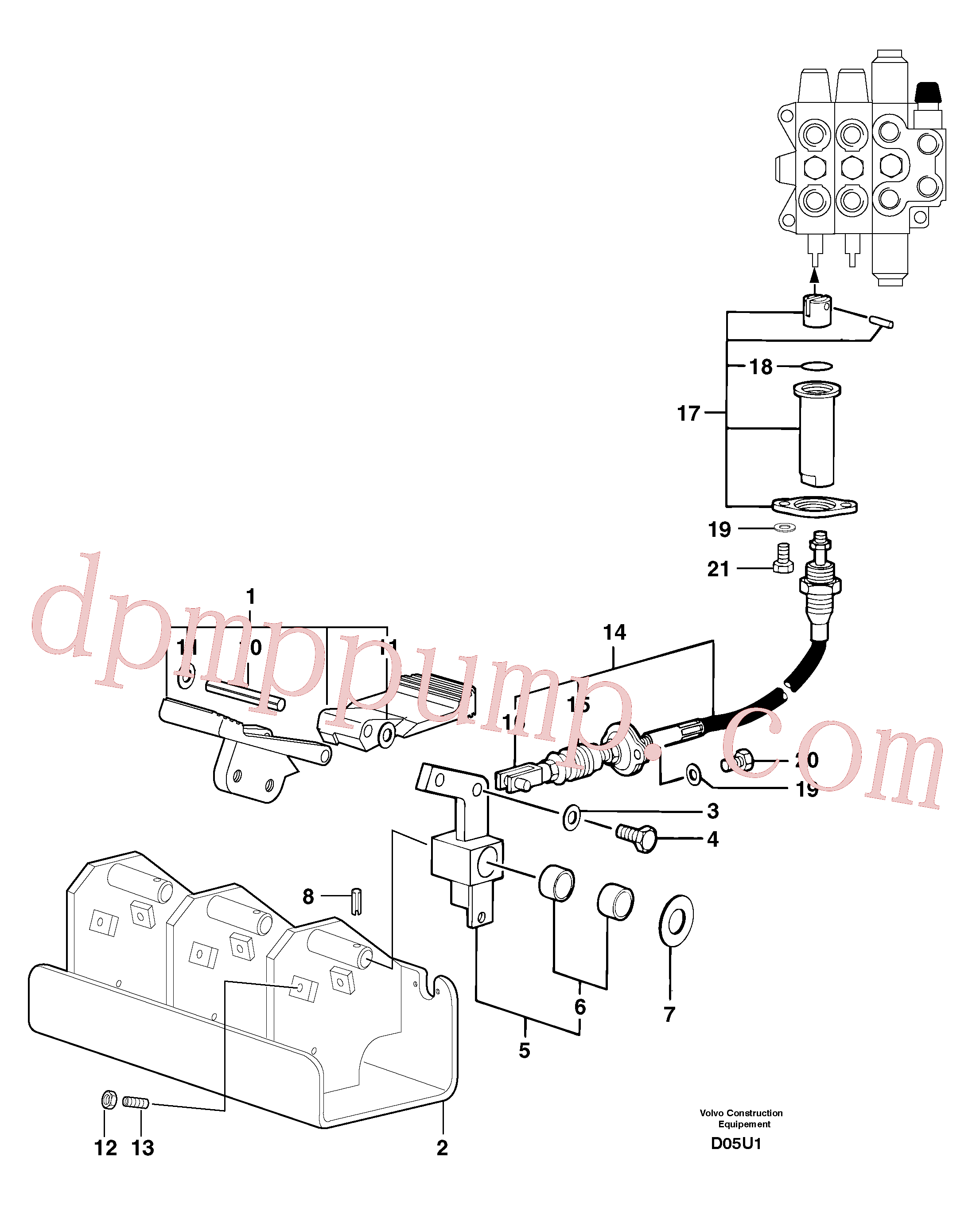 PJ5270536 for Volvo Control pedal : hand-operated accessories - 58 l/m(D05U1 assembly)