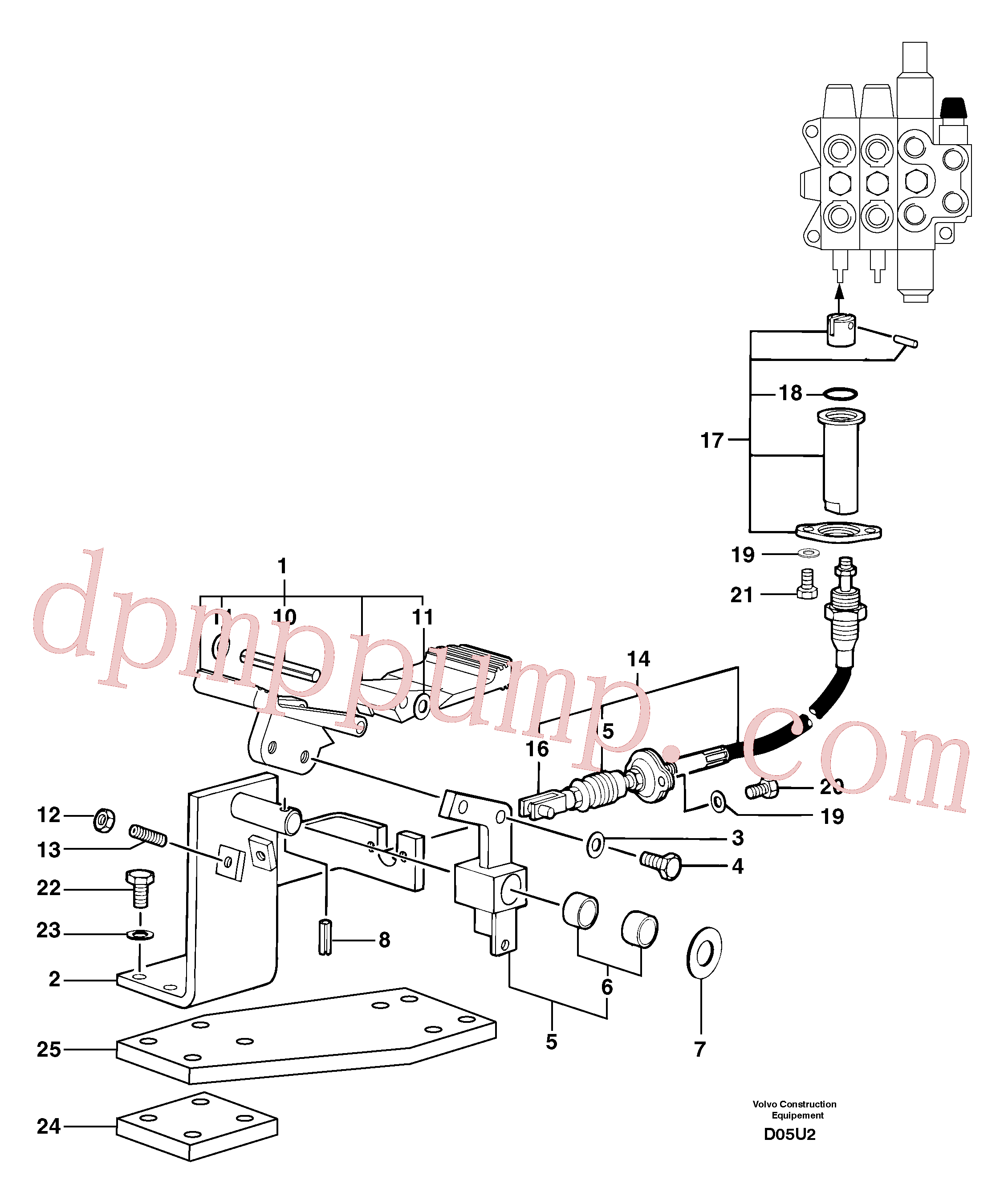 PJ5270536 for Volvo Control pedal : hand-operated accessories - 58 l/m(D05U2 assembly)