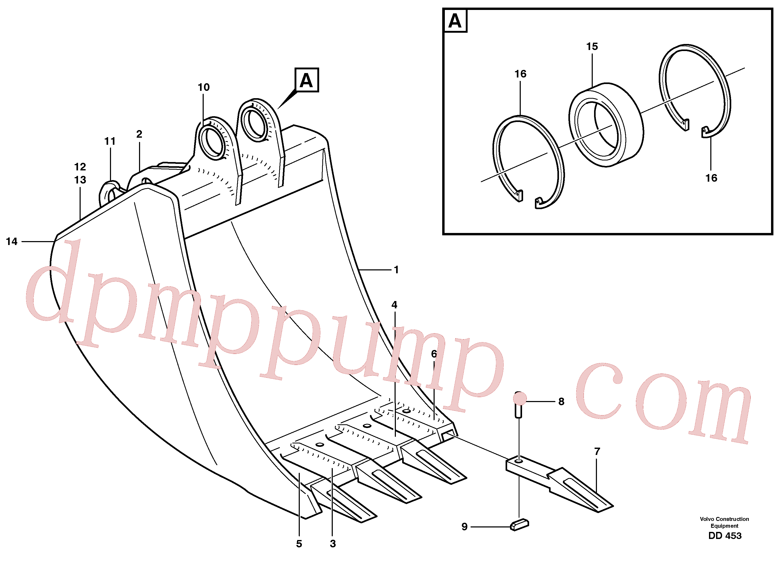 VOE14242056 for Volvo Buckets, direct fitting(DD453 assembly)