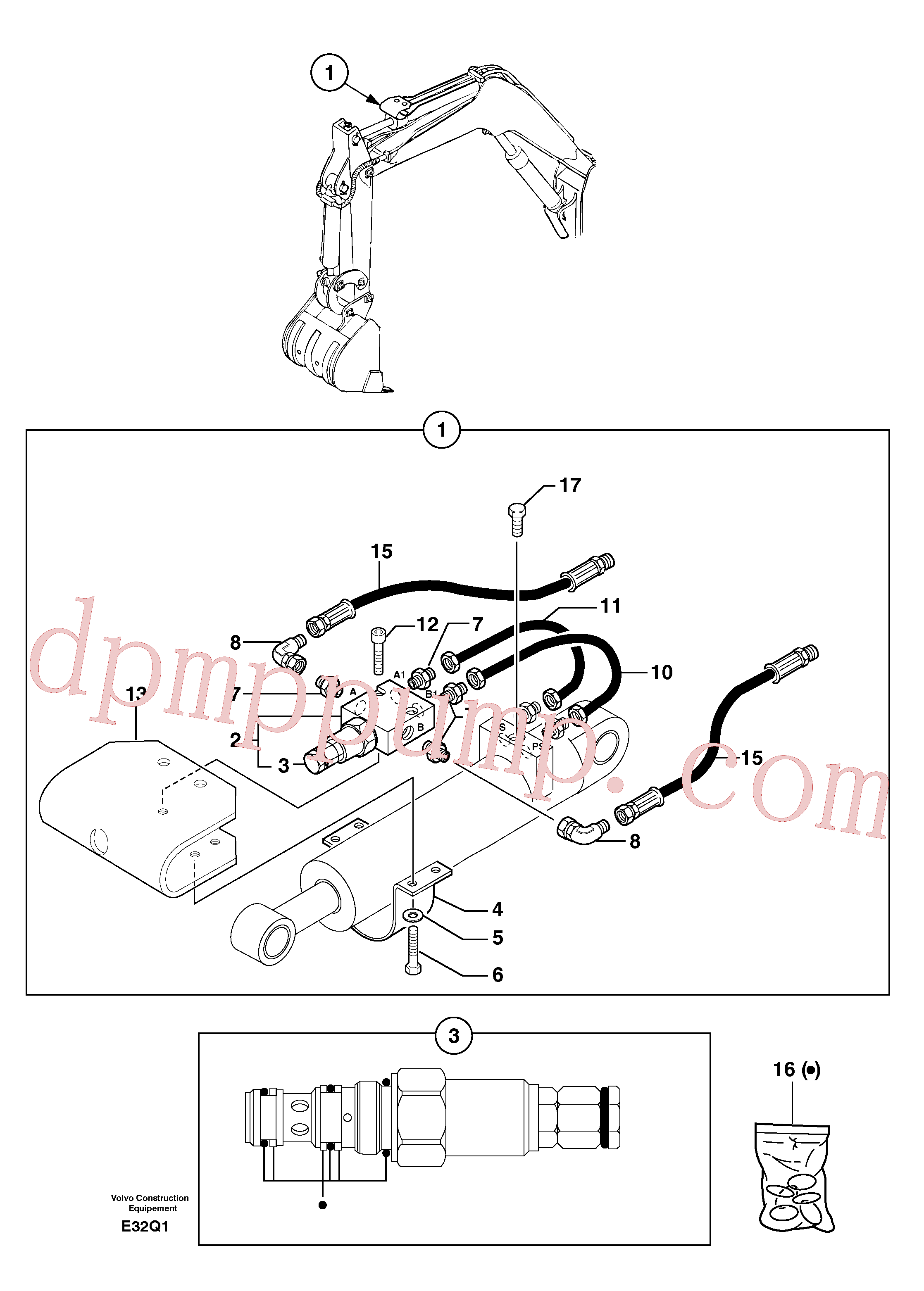 PJ6090033 for Volvo Safety valve ( dipper arm cylinder )(E32Q1 assembly)