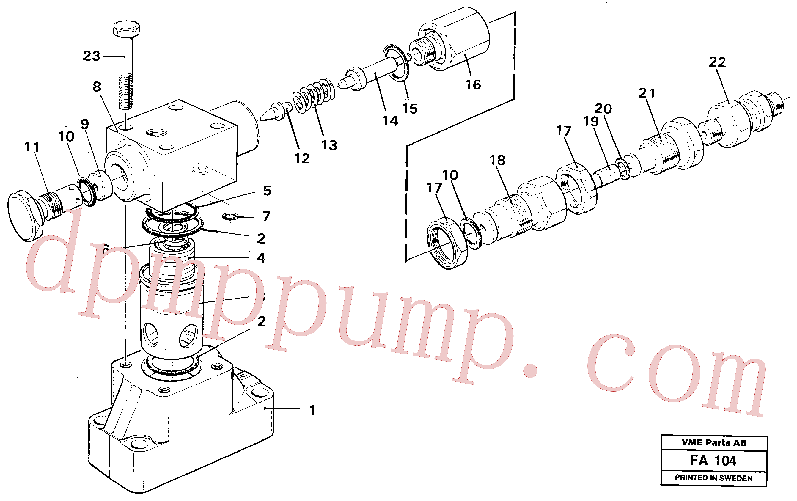 VOE14241443 for Volvo Pressure limiting valve(FA104 assembly)