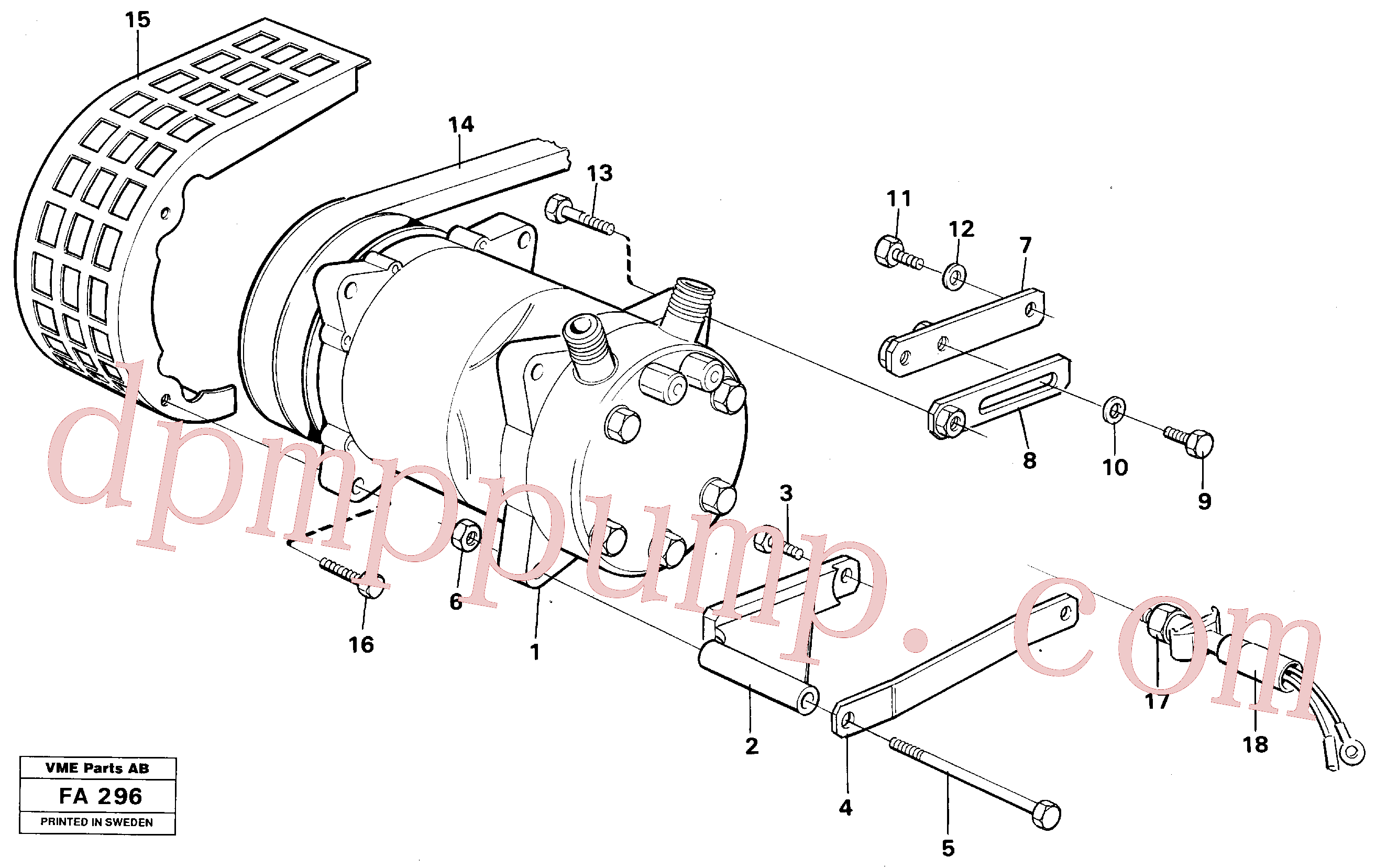 VOE14247400 for Volvo Compressor with fitting parts. Cooling agent, R12(FA296 assembly)