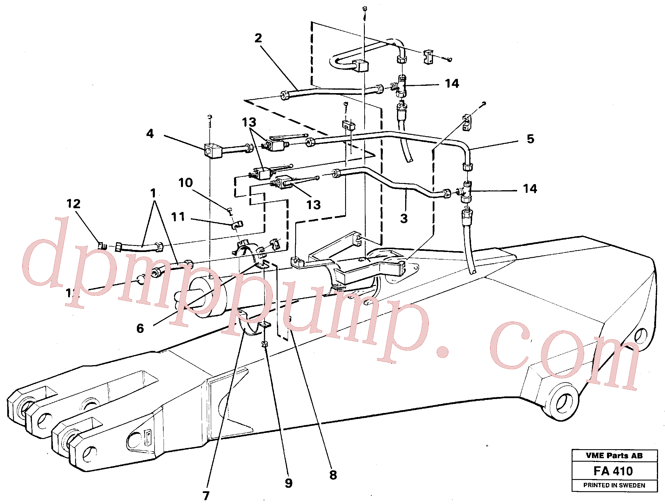 VOE14250695 for Volvo Parallel connected grab hydraulics incl. shut-offcocks on dipper arms.(FA410 assembly)