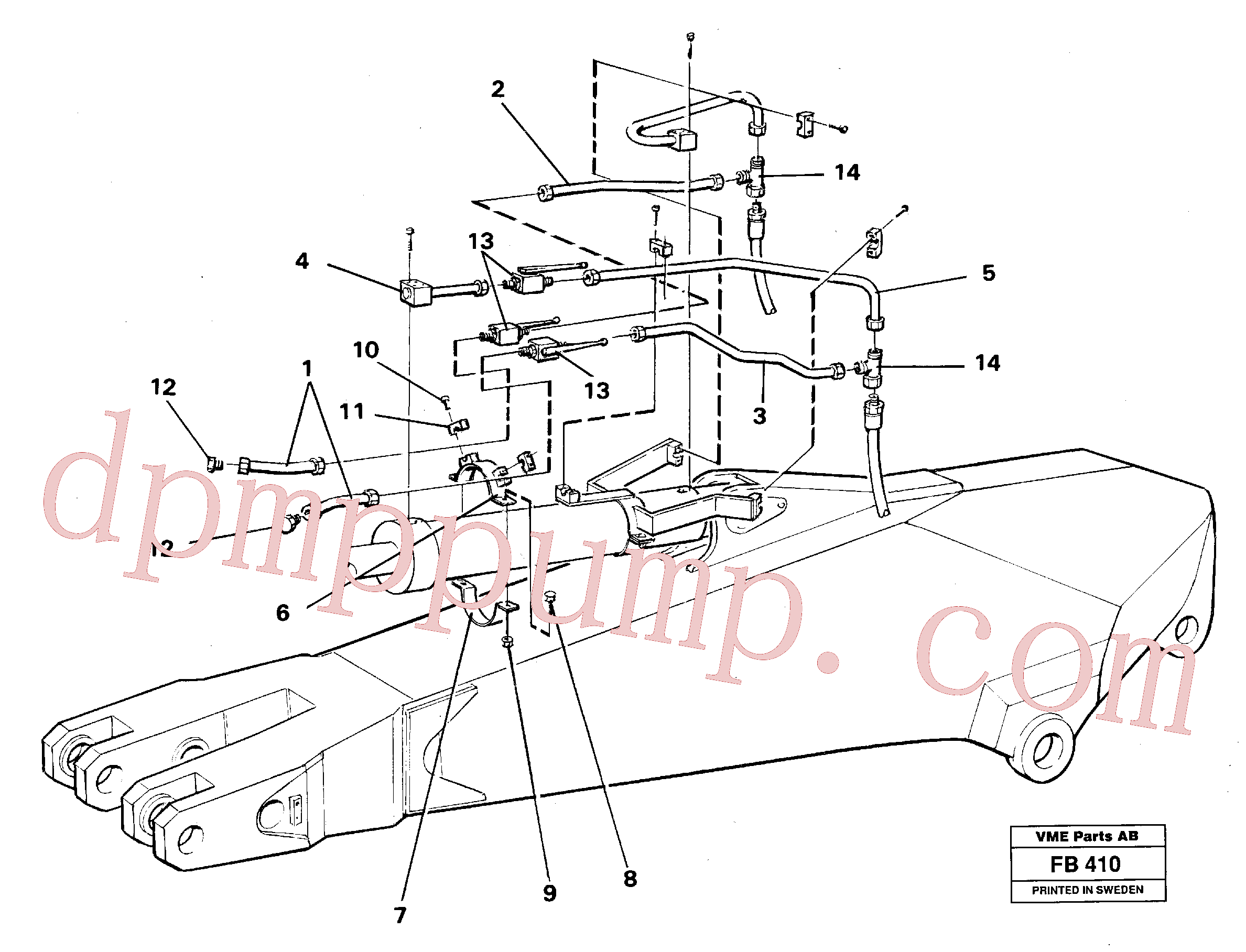 VOE14250695 for Volvo Parallel connected grab hydraulics incl. shut-offcocks on dipper arms(FB410 assembly)