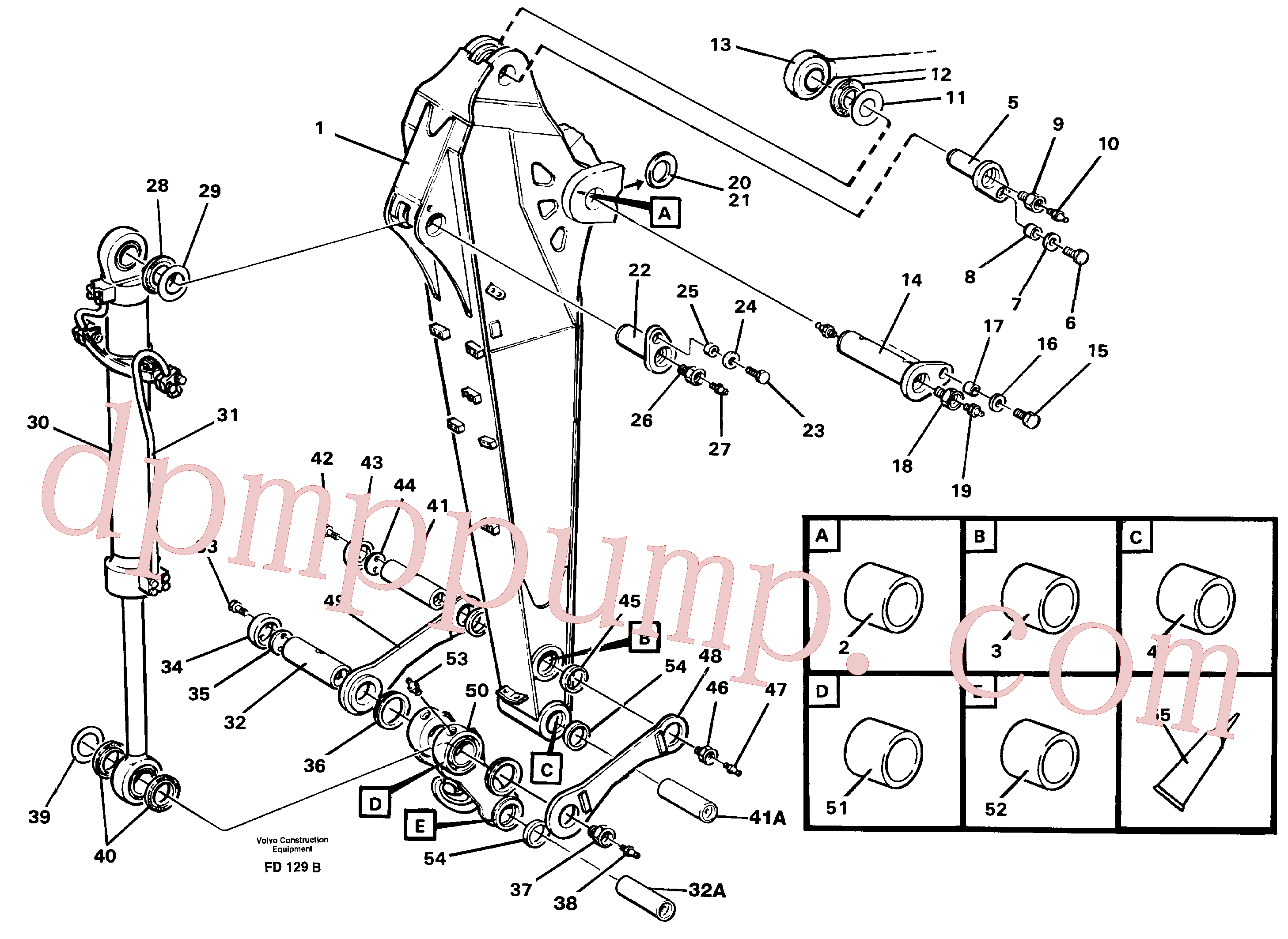VOE14257176 for Volvo Backhoe dipper arm incl. connections, 2.0m 2.4m(FD129B assembly)
