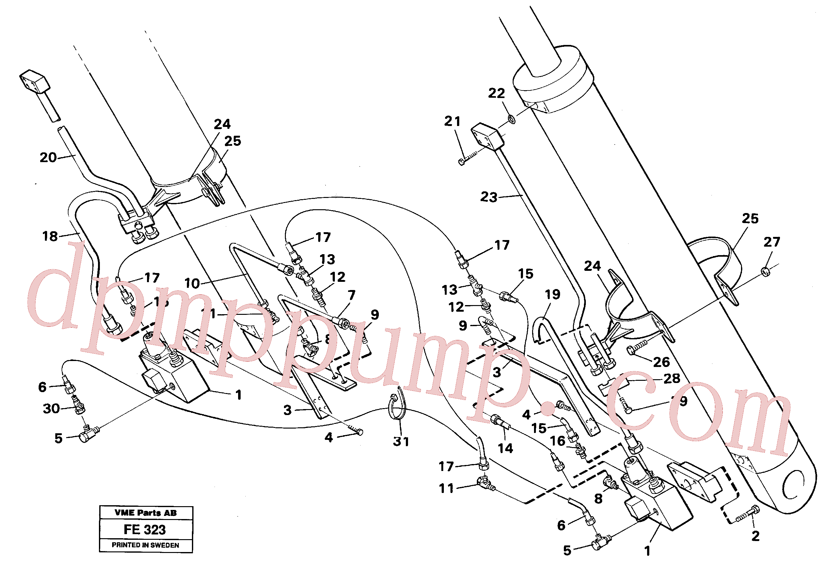 VOE14231237 for Volvo Hydraulic system, boom cylinder, front shovel equipment(FE323 assembly)