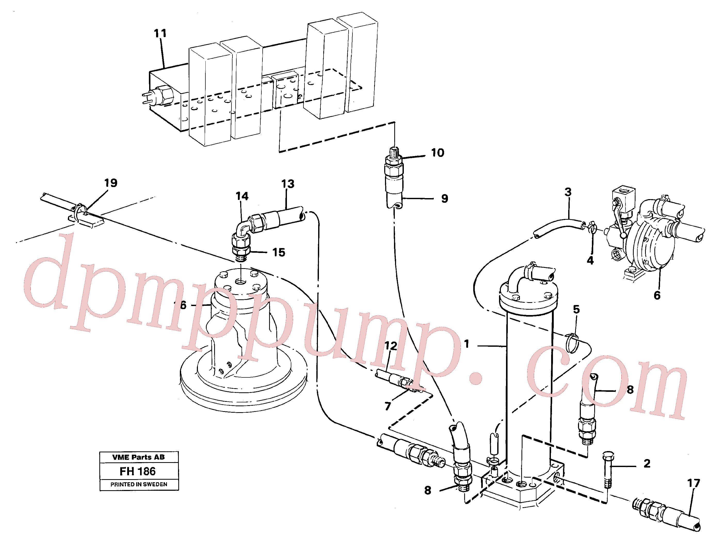 VOE14040485 for Volvo Leak oil filter, with connections(FH186 assembly)