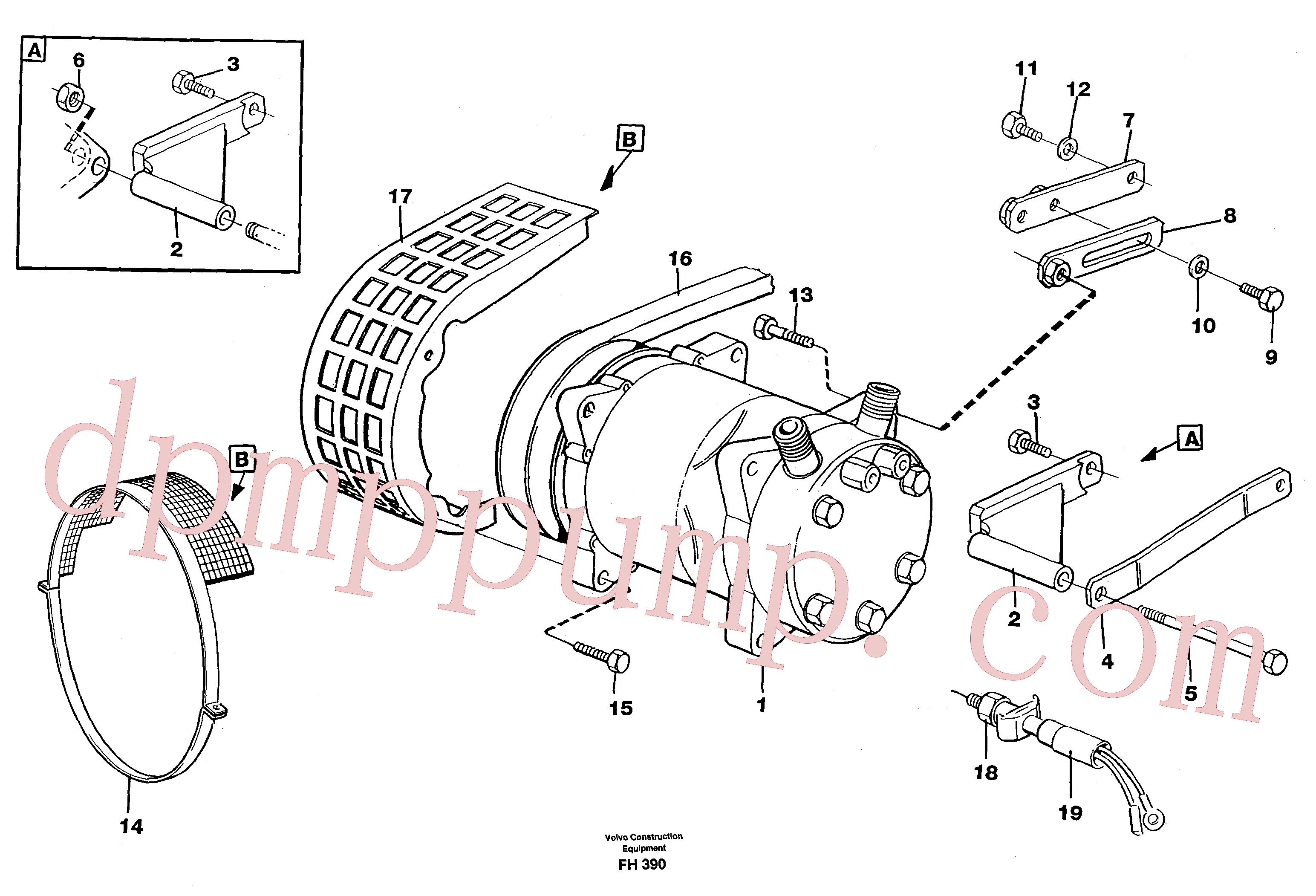 VOE14247400 for Volvo Compressor with fitting parts, cooling agent R134a(FH390 assembly)