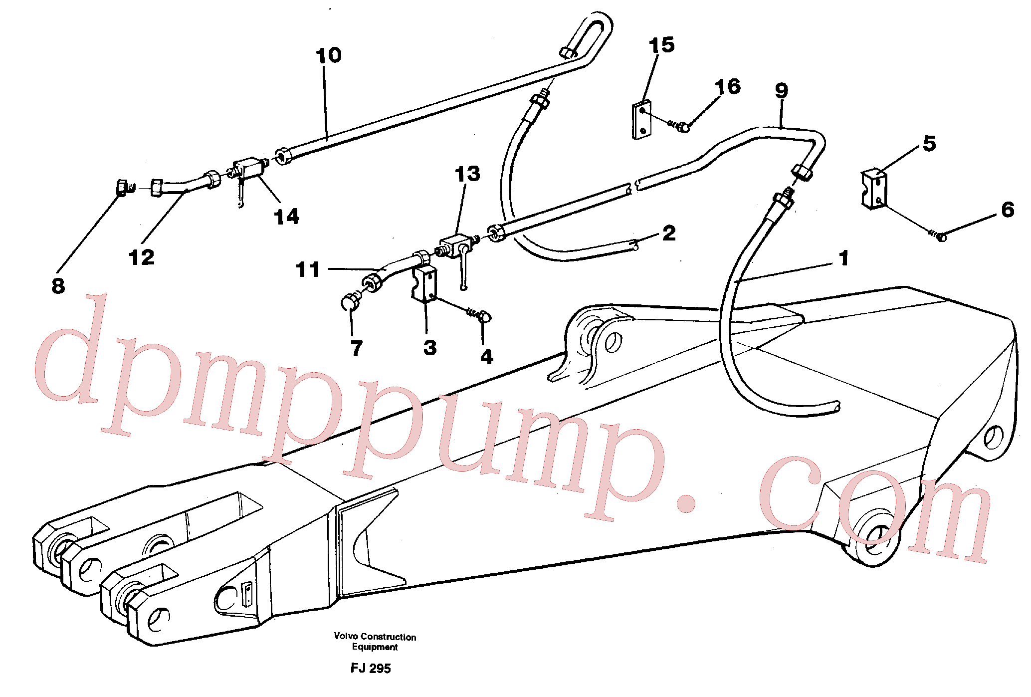 VOE14210940 for Volvo Hammer hydraulics for dipper arm incl. shut-offcocks.(FJ295 assembly)