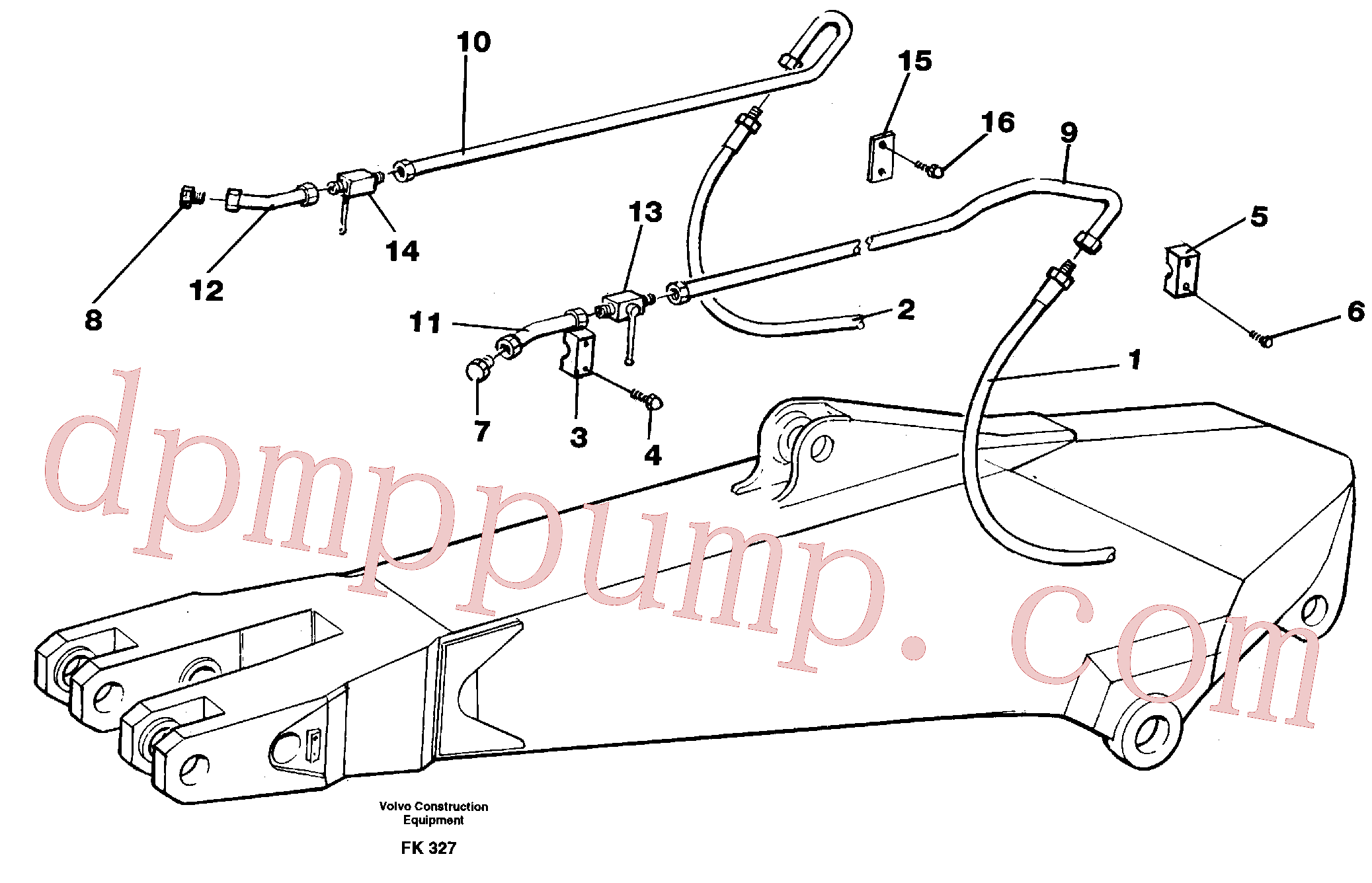 VOE14210940 for Volvo Hammer hydraulics for dipper arm incl. shut-offcocks.(FK327 assembly)
