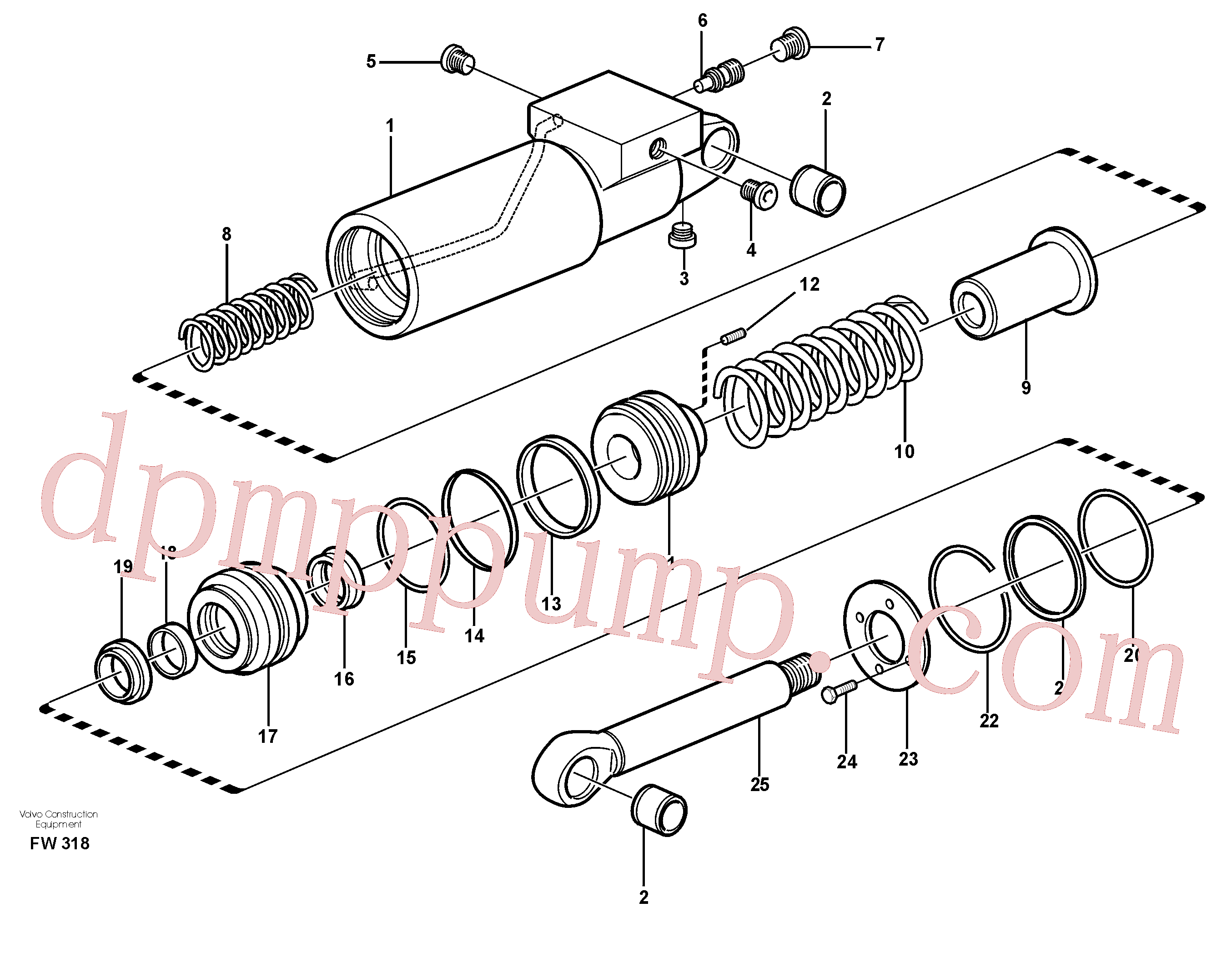 VOE11702311 for Volvo Hydraulic cylinder(FW318 assembly)