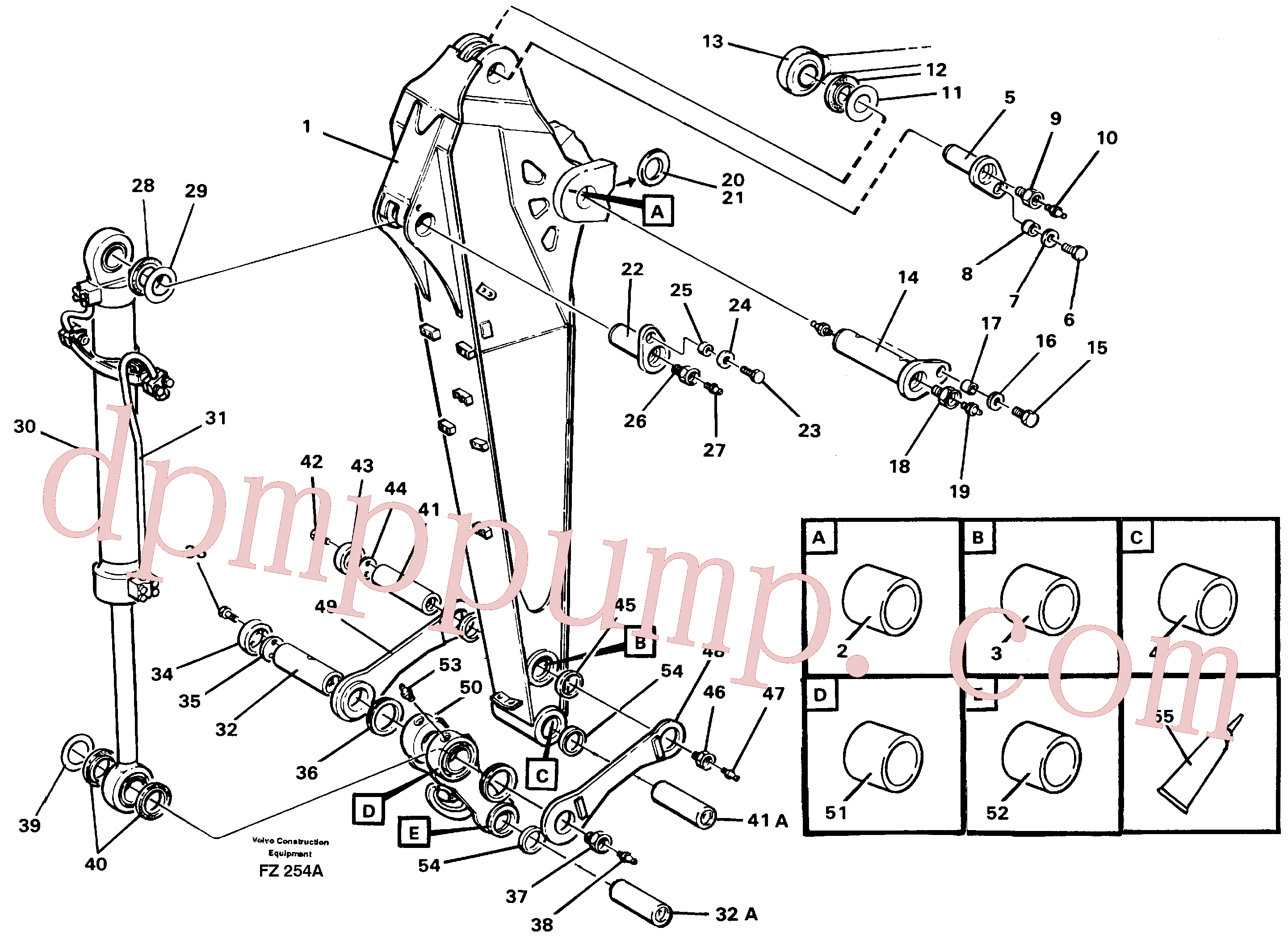 VOE14256352 for Volvo Backhoe dipper arm incl. connections, 2.0m 2.4m(FZ254A assembly)