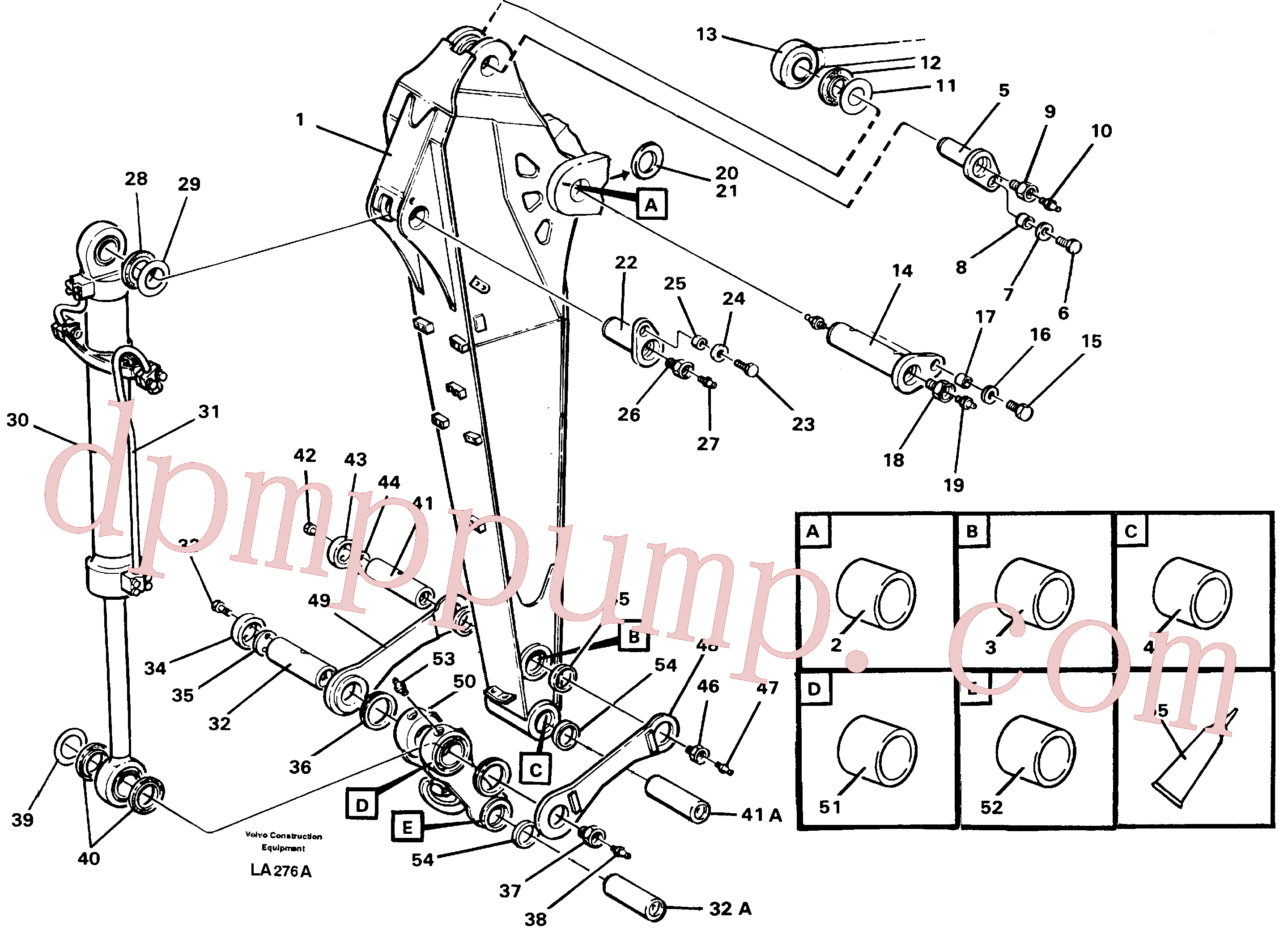 VOE14256352 for Volvo Backhoe dipper arm incl. connections, 2.0m 2.4m(LA276A assembly)