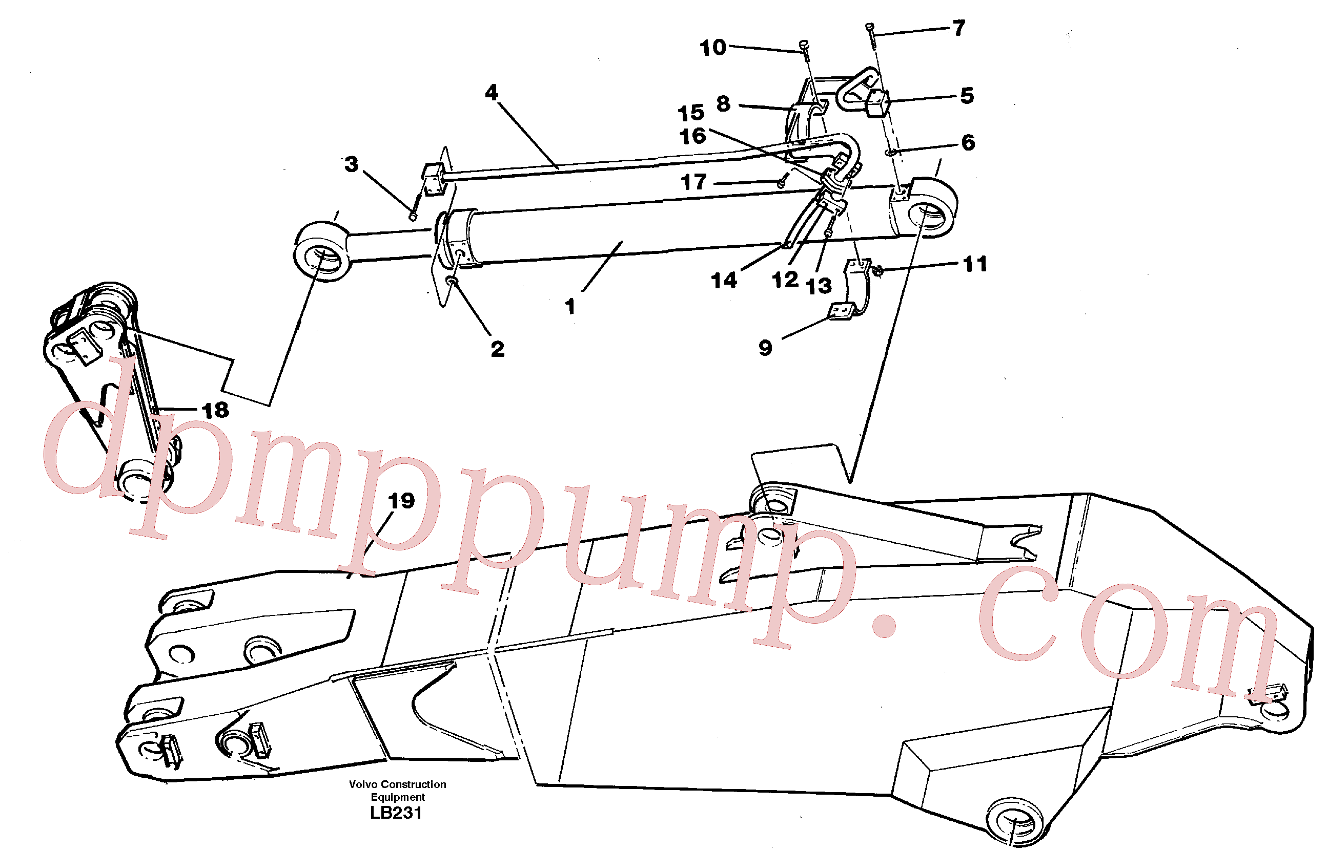 VOE14345030 for Volvo Cylinder hydraulics, dipper arm(LB231 assembly)
