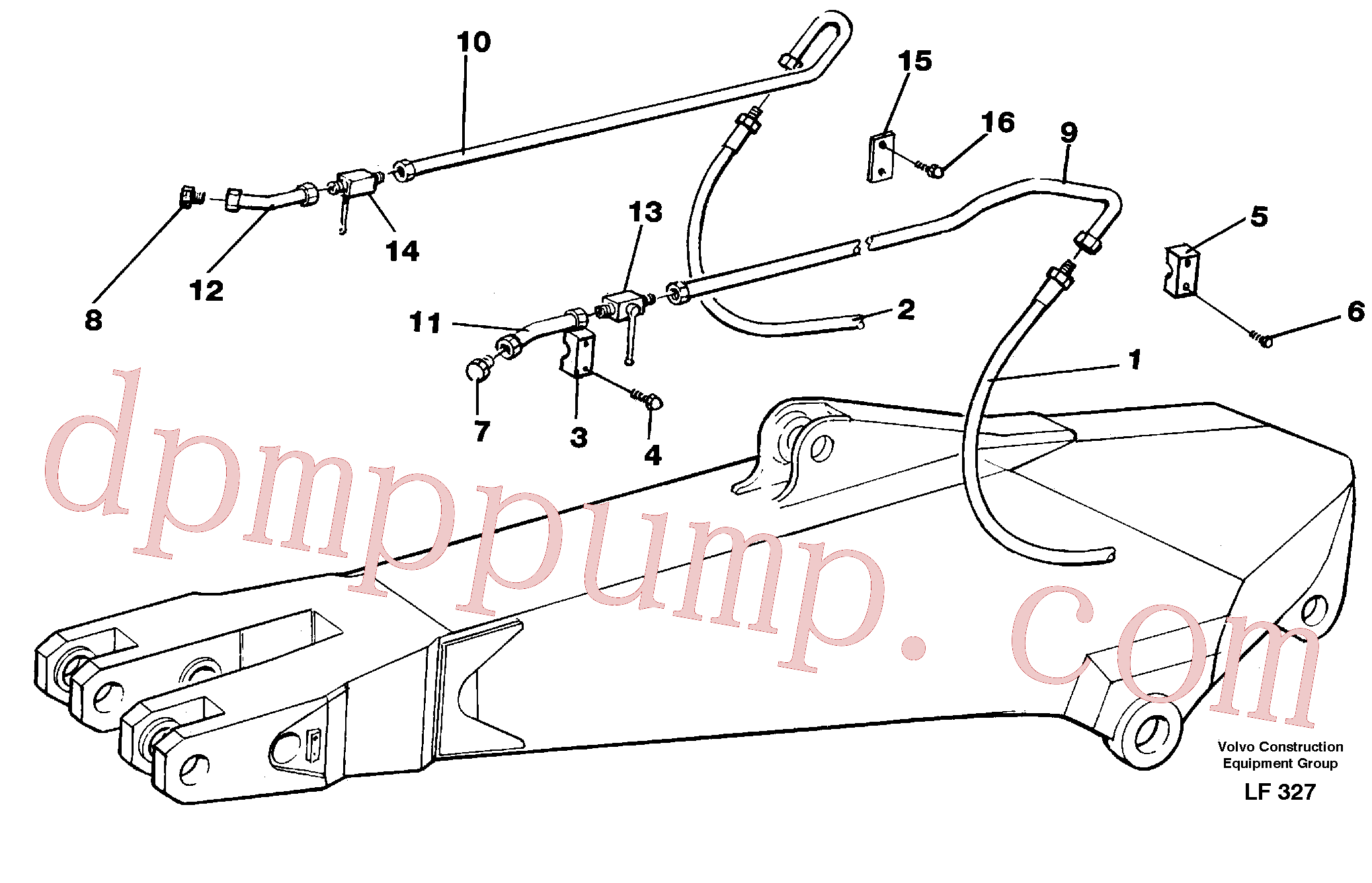 VOE14210940 for Volvo Hammer hydraulics for dipper arm incl. shut-offcocks.(LF327 assembly)