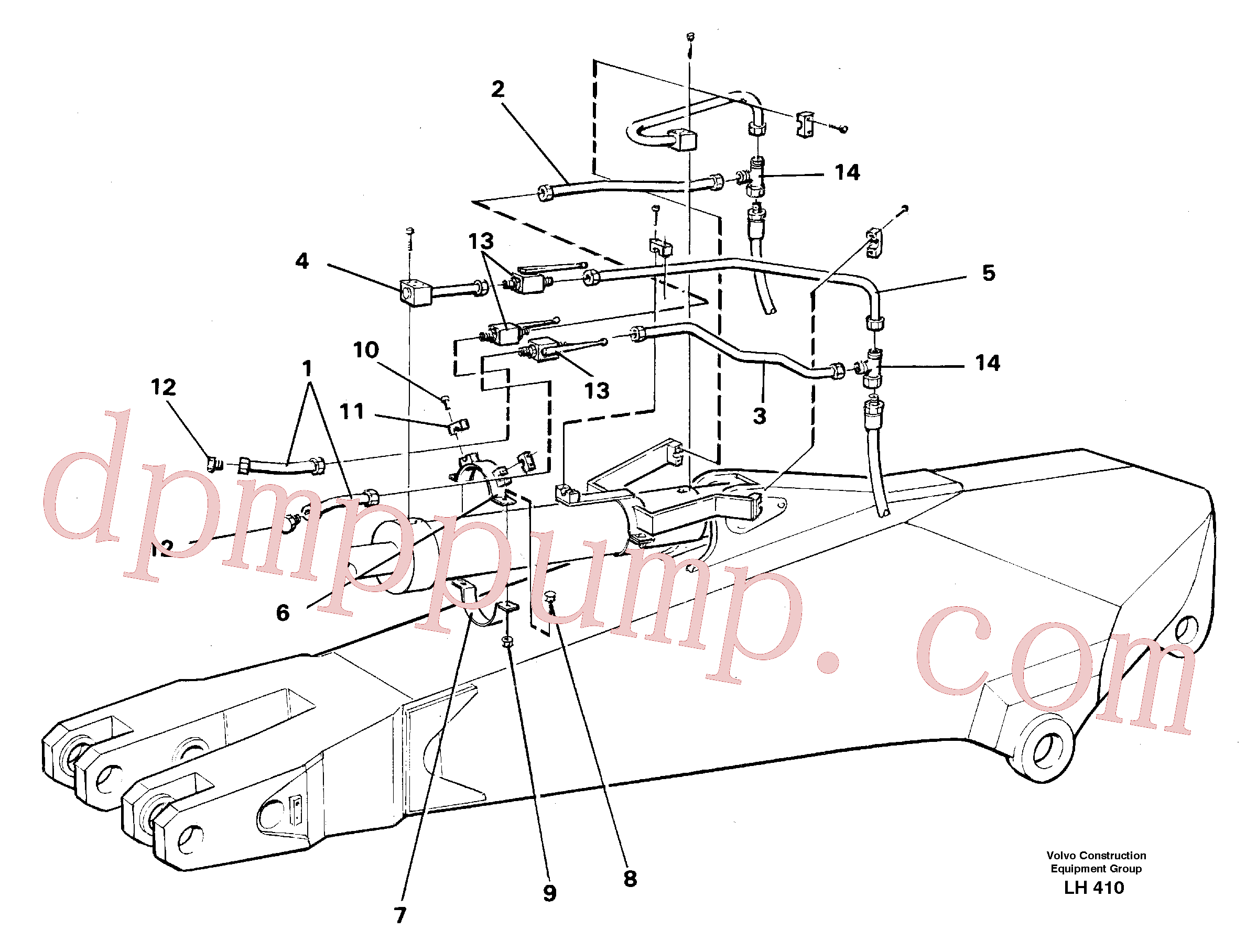 VOE14250695 for Volvo Parallel connected grab hydraulics incl. shut-offcocks on dipper arms(LH410 assembly)