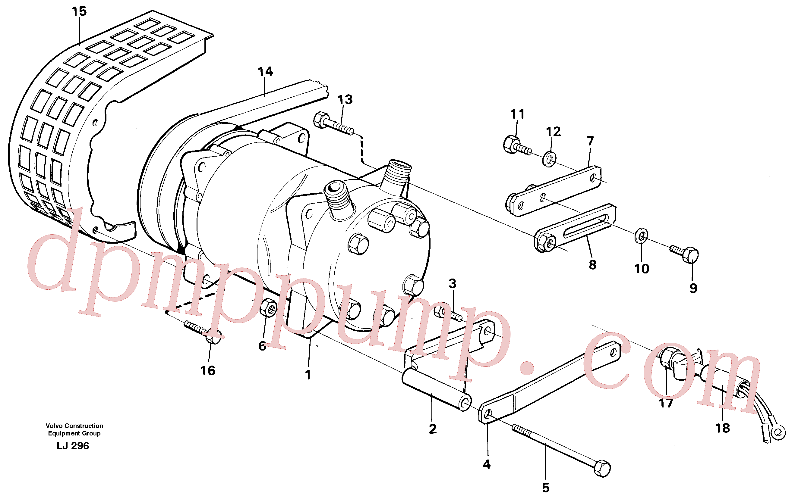 VOE14247400 for Volvo Compressor with fitting parts. Cooling agent, R12(LJ296 assembly)