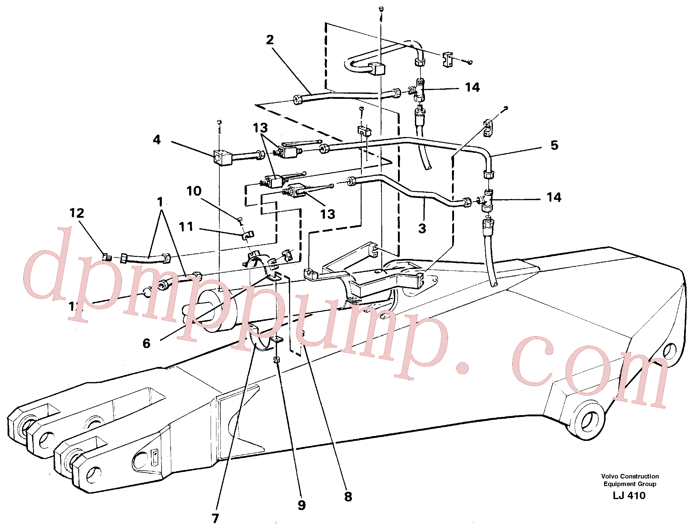 VOE14250695 for Volvo Parallel connected grab hydraulics incl. shut-offcocks on dipper arms.(LJ410 assembly)